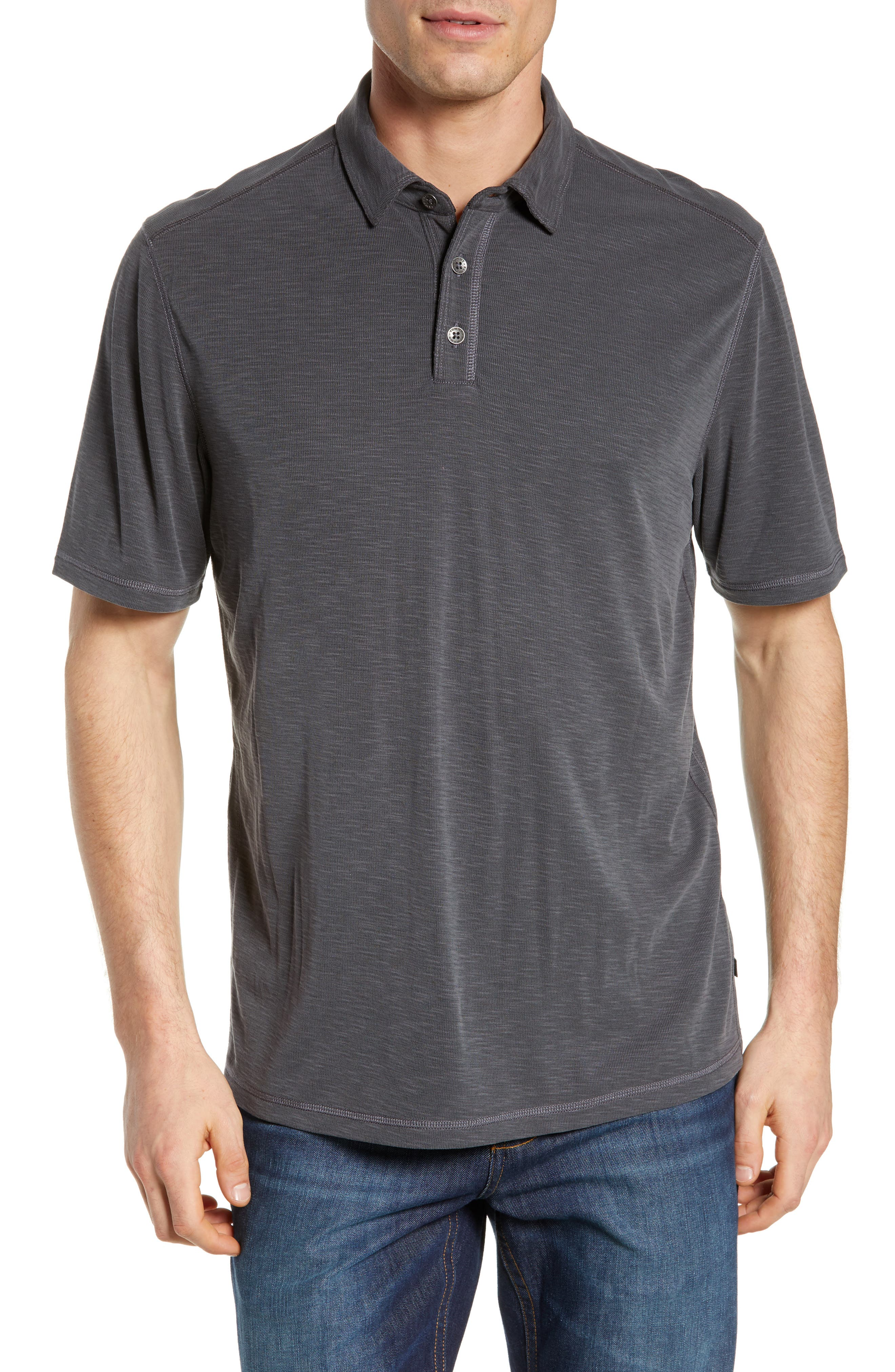 TOMMY BAHAMA Flip Tide Spectator Polo, Main, color, BLACK