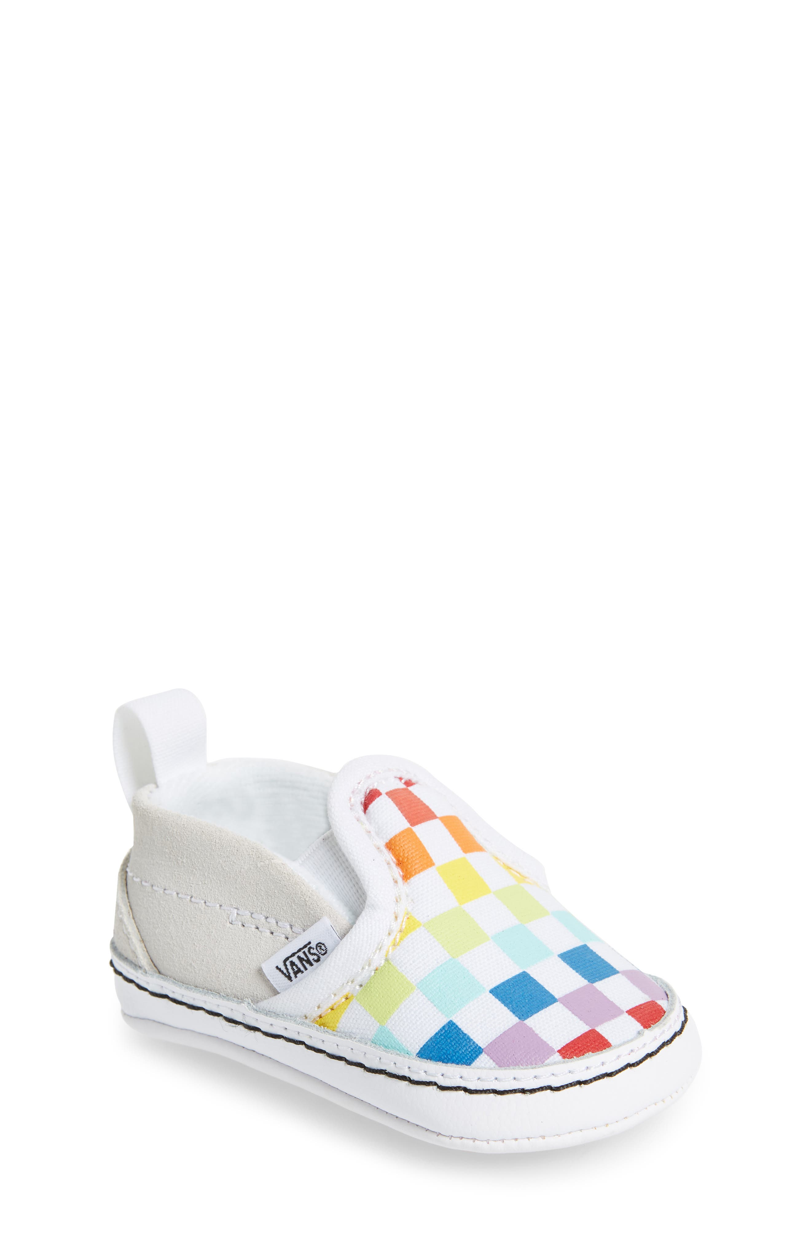 VANS, Slip-On Crib Shoe, Main thumbnail 1, color, CHECKERBOARD RAINBOW/ WHITE