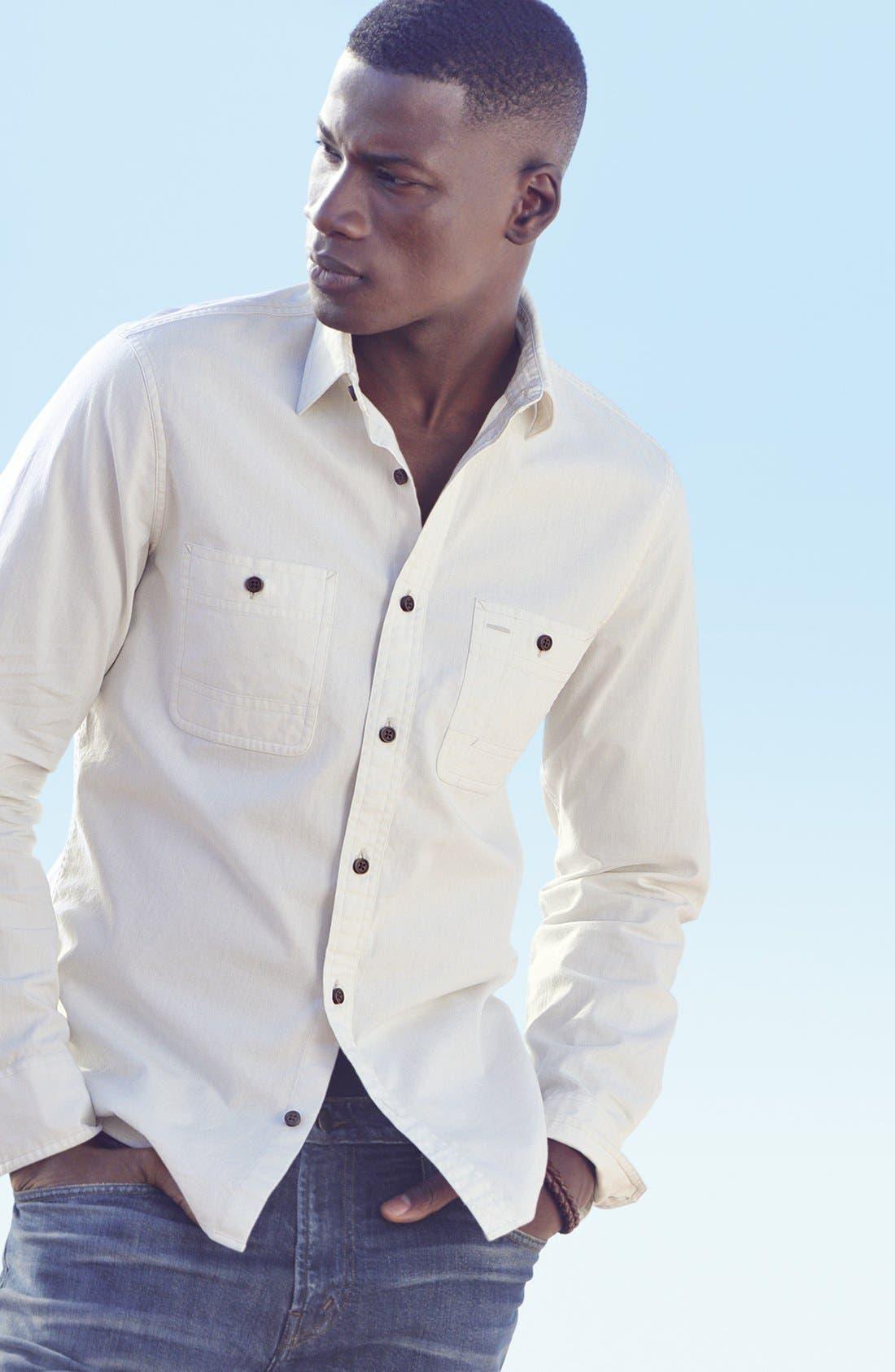 WALLIN & BROS., 'Workwear' Trim Fit Chambray Sport Shirt, Alternate thumbnail 2, color, 300