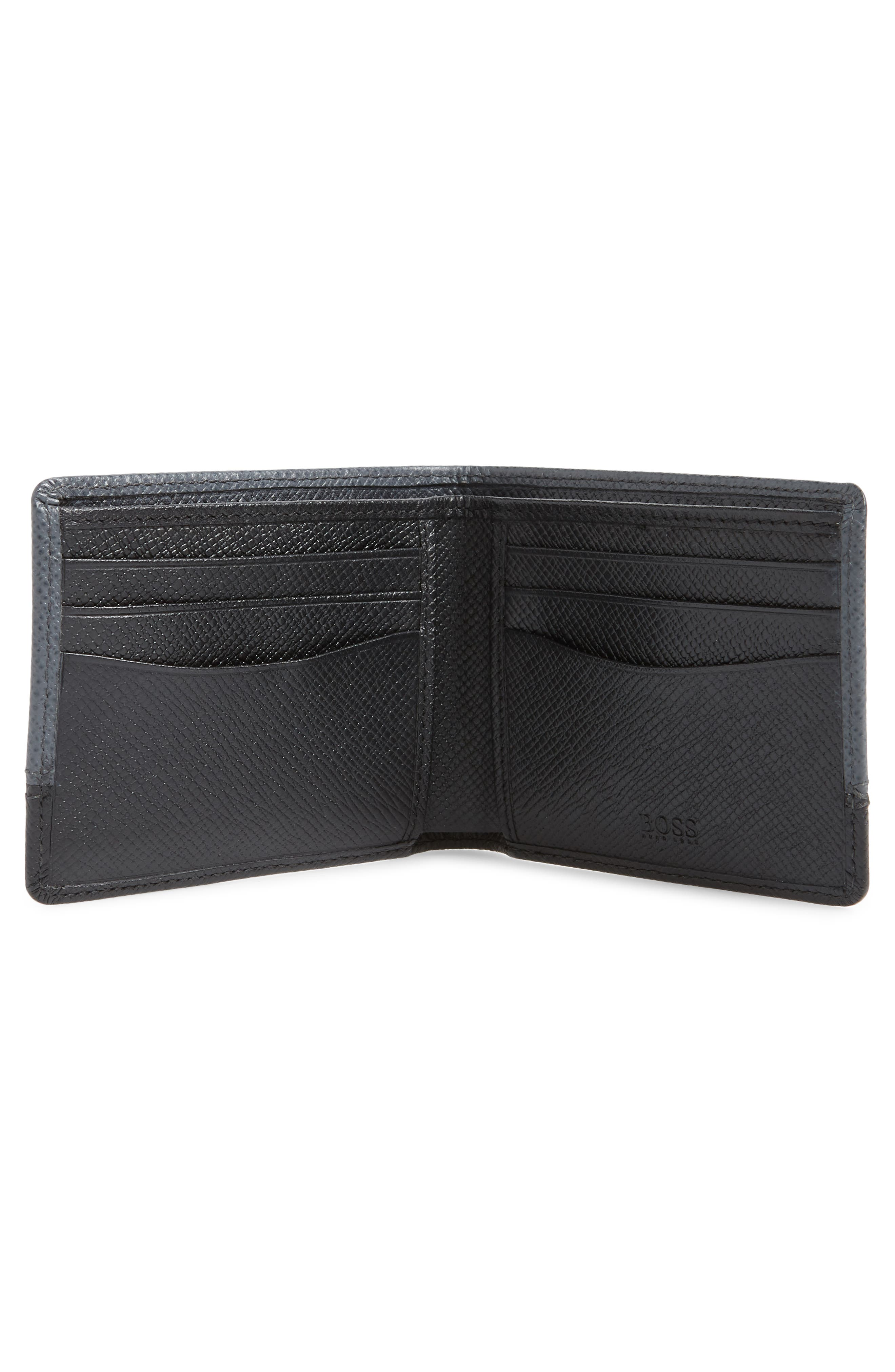 BOSS, Embossed Leather Wallet, Alternate thumbnail 2, color, DARK GREY