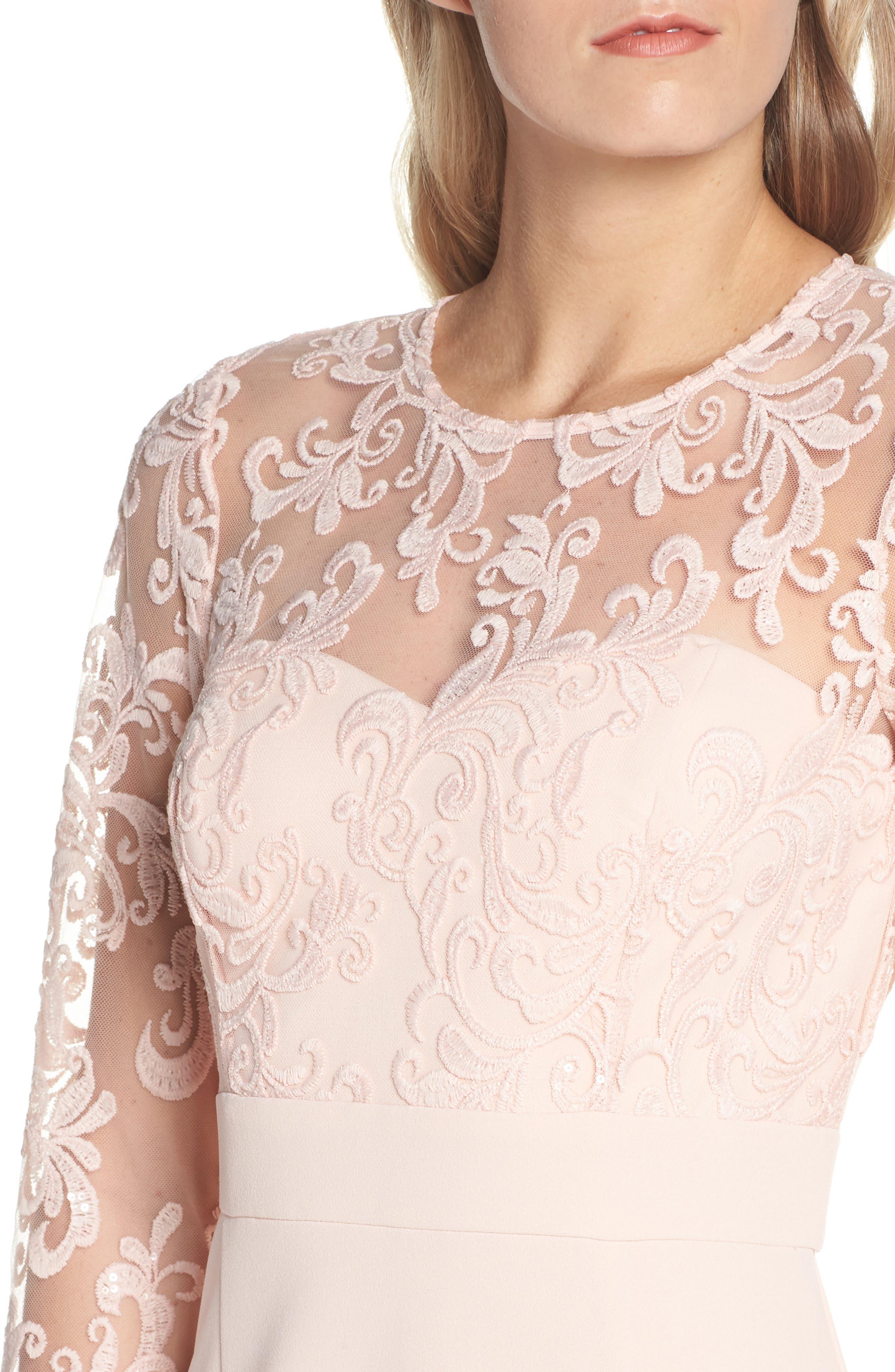 ELIZA J, Embroidered Bodice Crepe Evening Dress, Alternate thumbnail 6, color, BLUSH