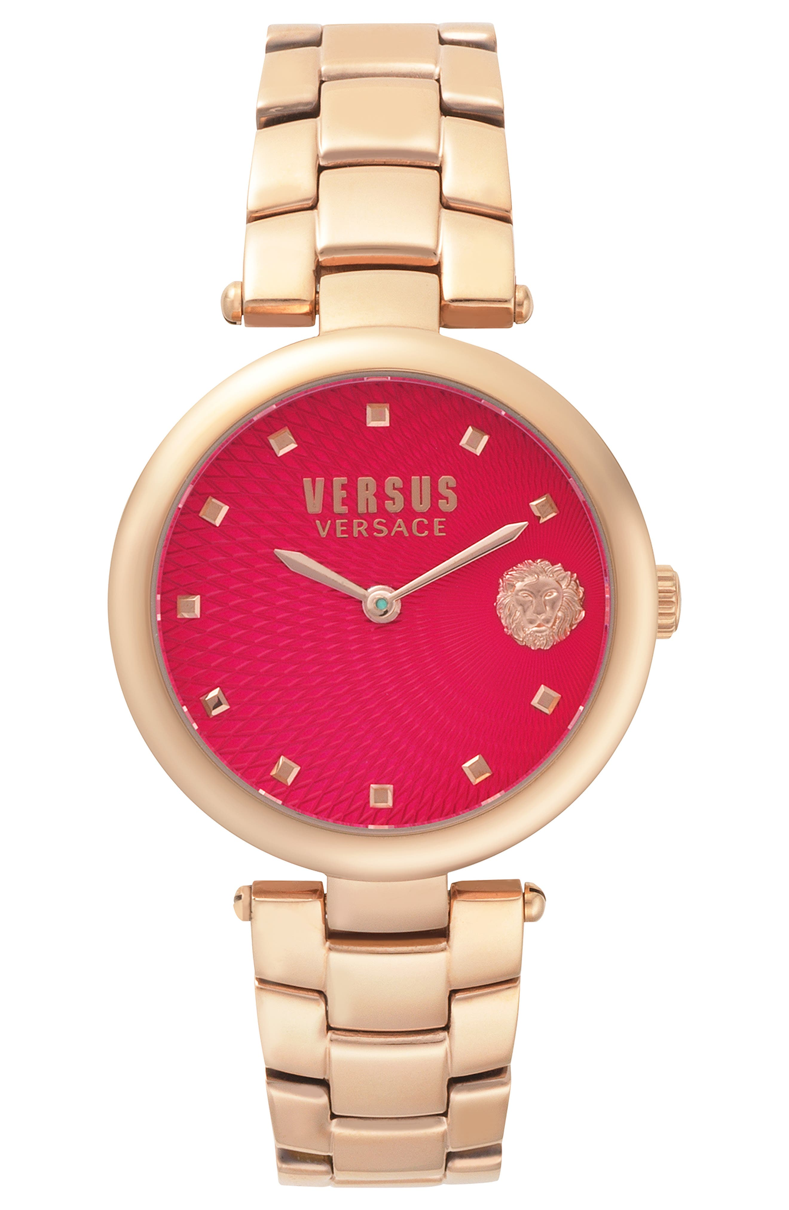 VERSUS VERSACE, Buffle Bay Bracelet Watch, 36mm, Main thumbnail 1, color, ROSE GOLD/ RED