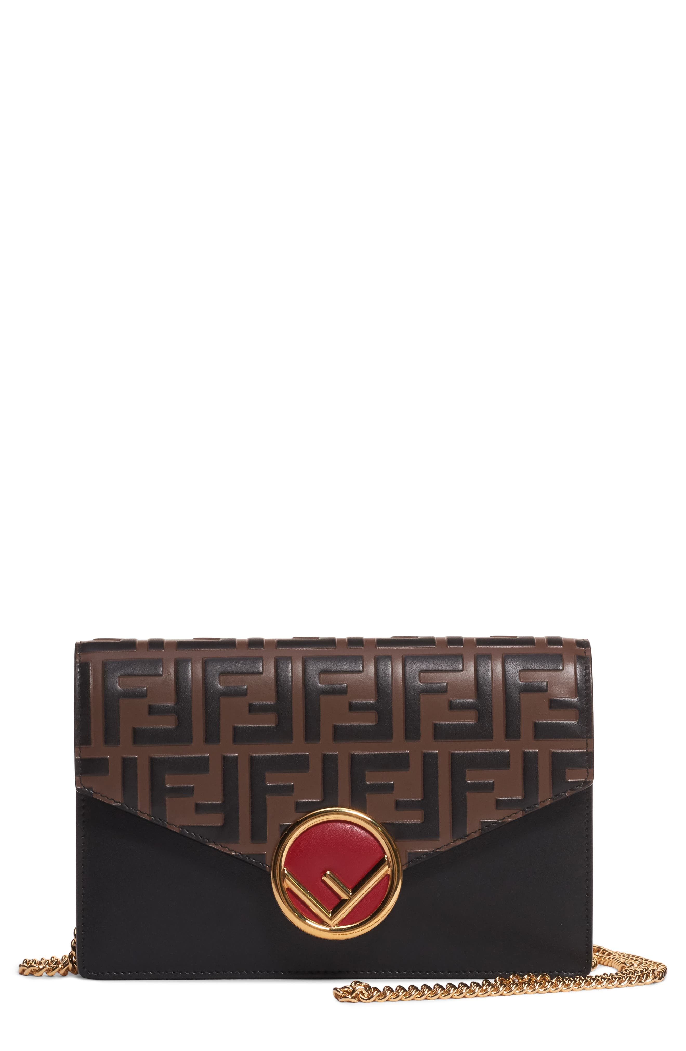 FENDI, Logo Calfskin Leather Wallet on a Chain, Main thumbnail 1, color, 201