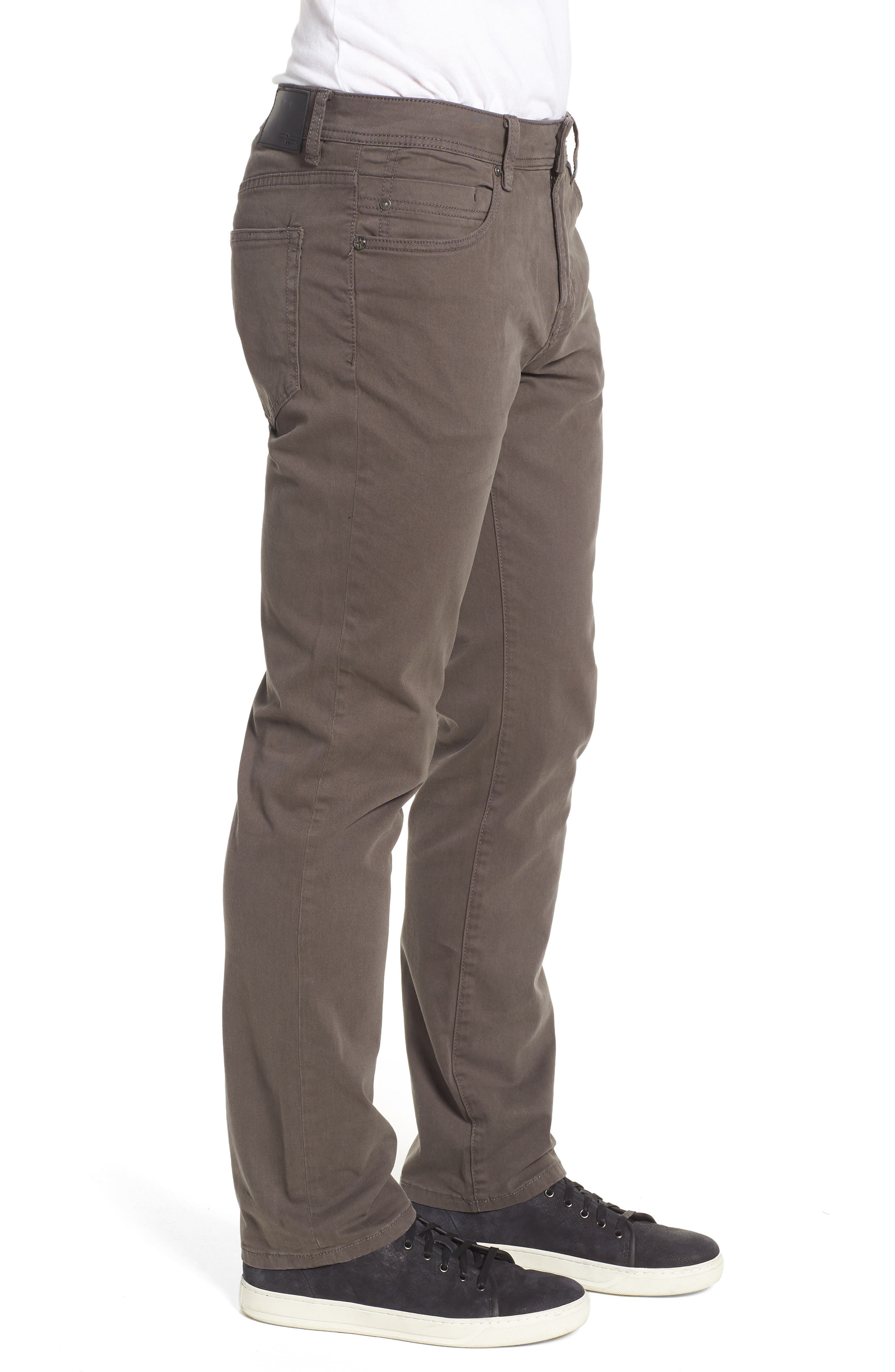 LIVERPOOL, Regent Relaxed Straight Leg Twill Pants, Alternate thumbnail 4, color, DEEP EARTH
