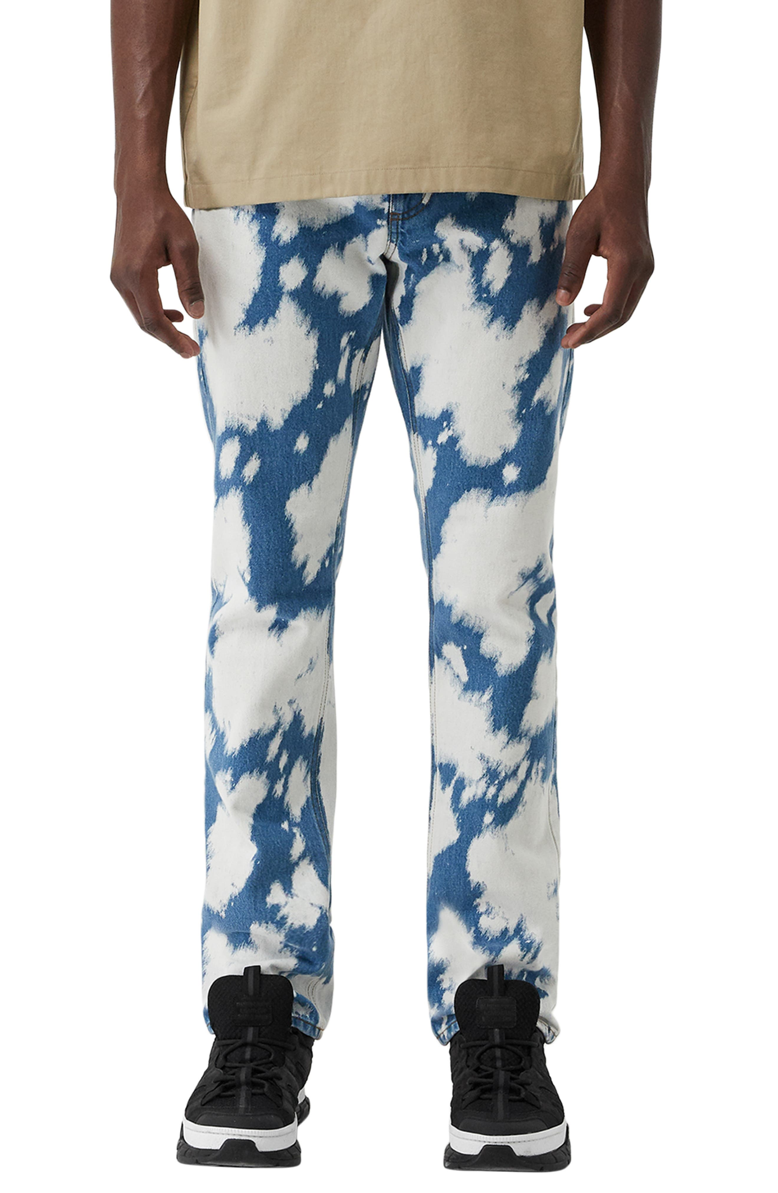 BURBERRY Punk Bleached Straight Leg Jeans, Main, color, LIGHT INDIGO