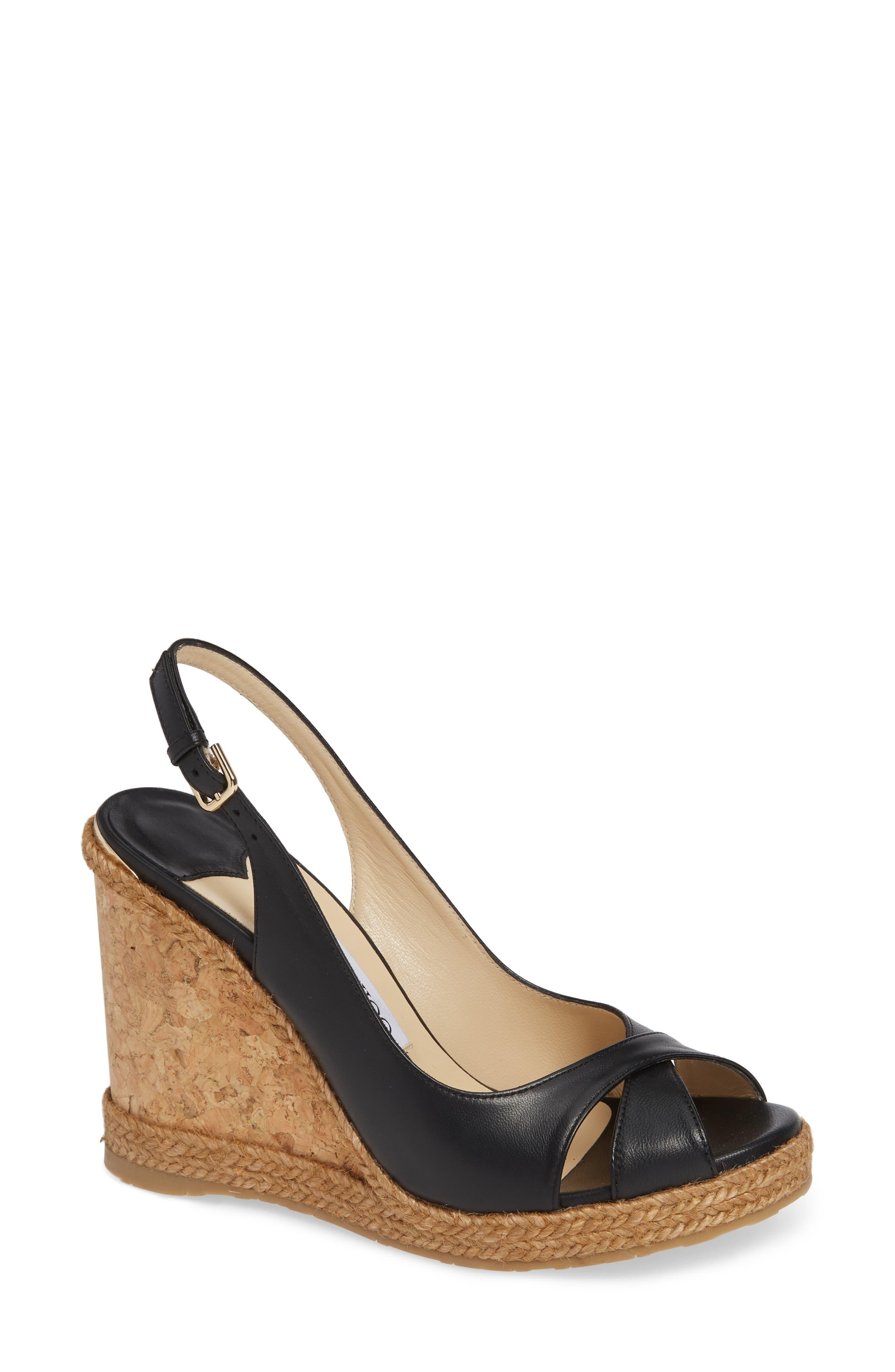 JIMMY CHOO Amely Slingback Wedge Sandal, Main, color, BLACK
