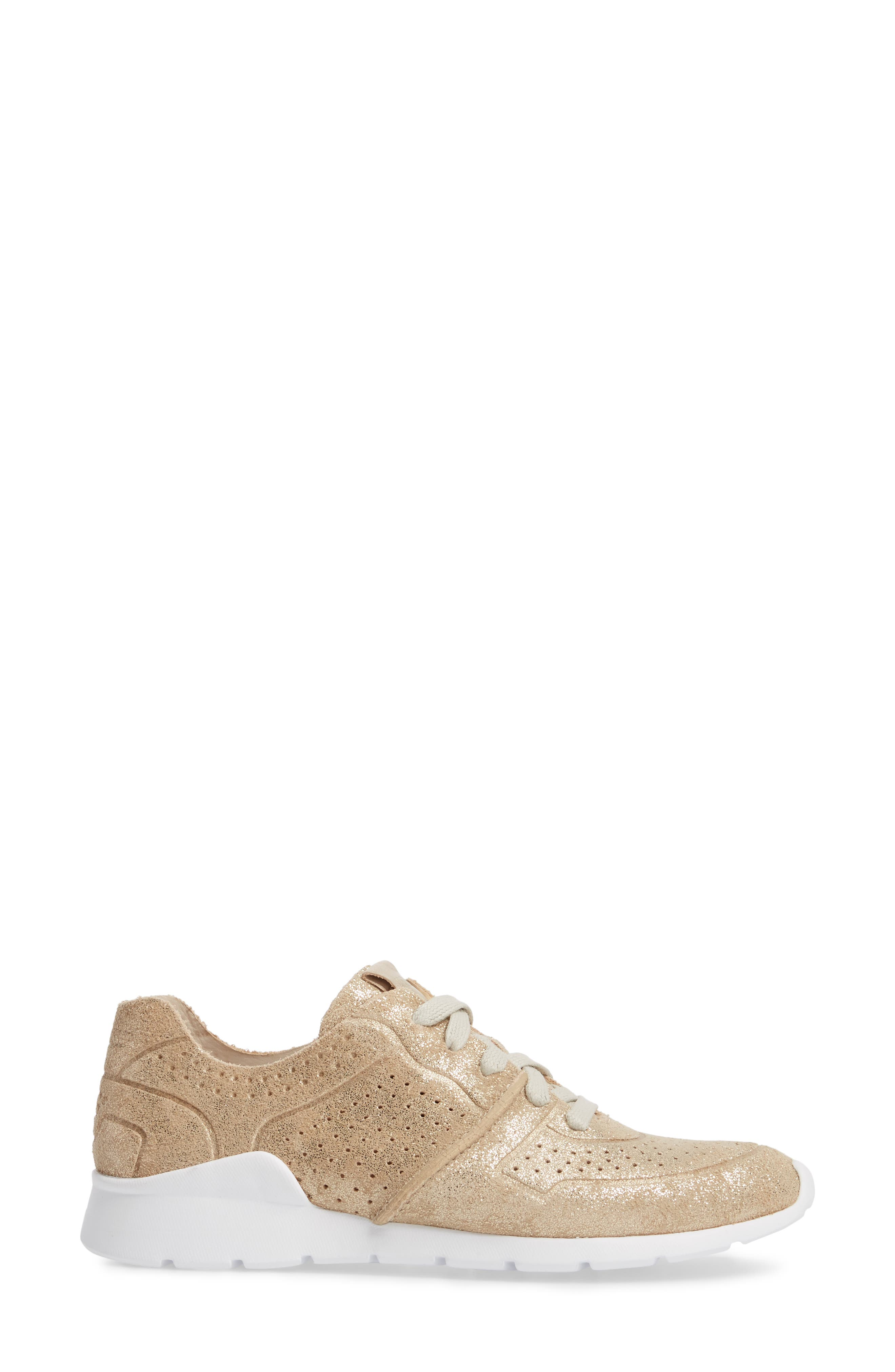 UGG<SUP>®</SUP>, Tye Stardust Sneaker, Alternate thumbnail 3, color, GOLD LEATHER