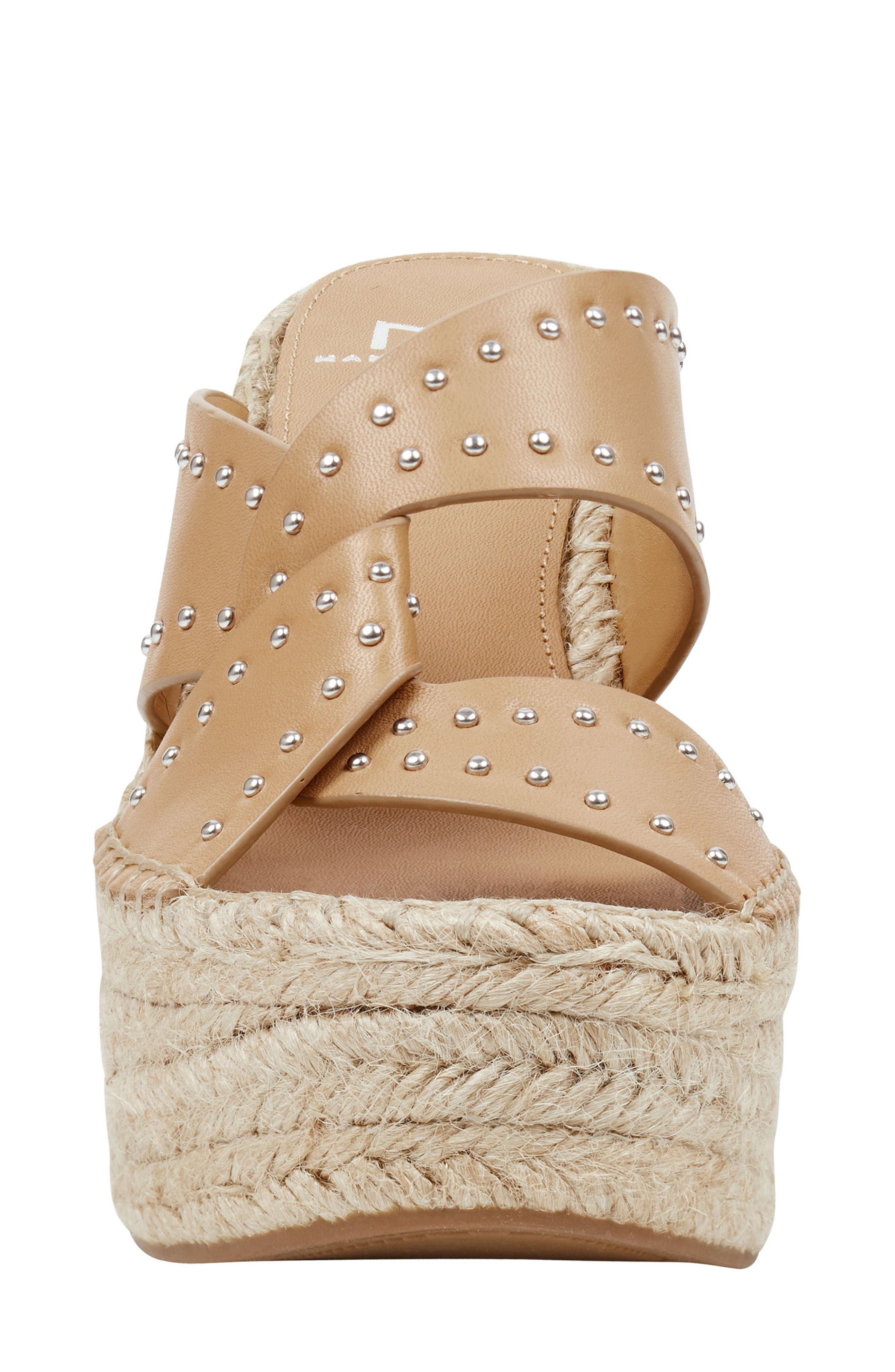 MARC FISHER LTD, Angelina Espadrille Wedge, Alternate thumbnail 4, color, TAN LEATHER