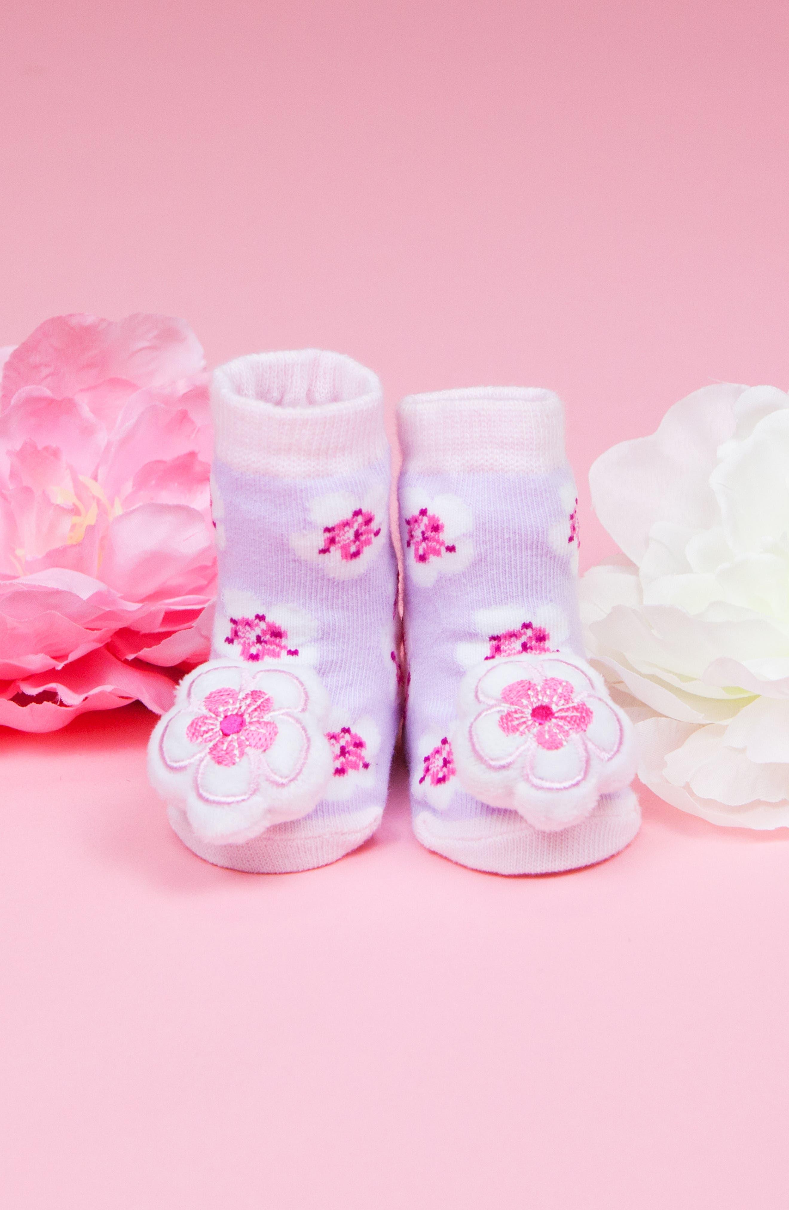 WADDLE, 2-Pack Cherry Blossom Rattle Socks, Alternate thumbnail 4, color, WHITE/ LAVENDER