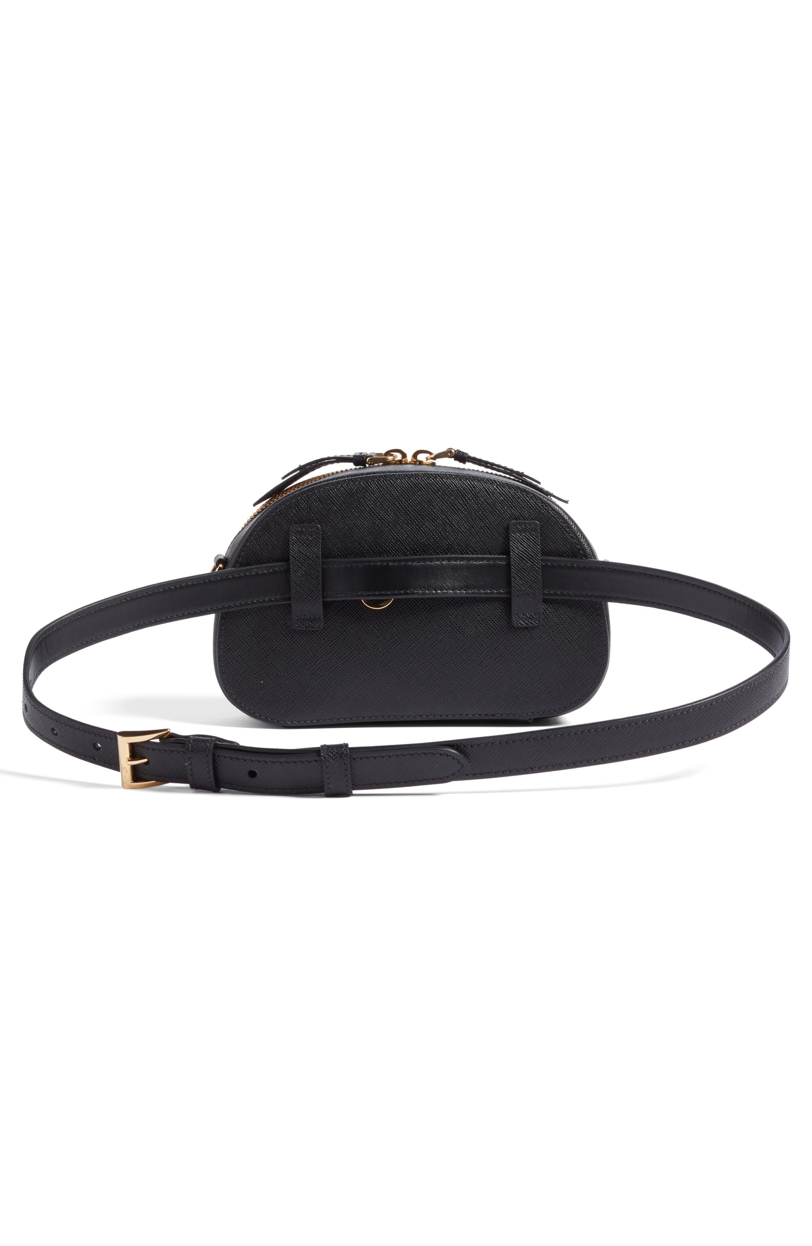 PRADA, Saffiano Leather Belt Bag, Alternate thumbnail 4, color, 001