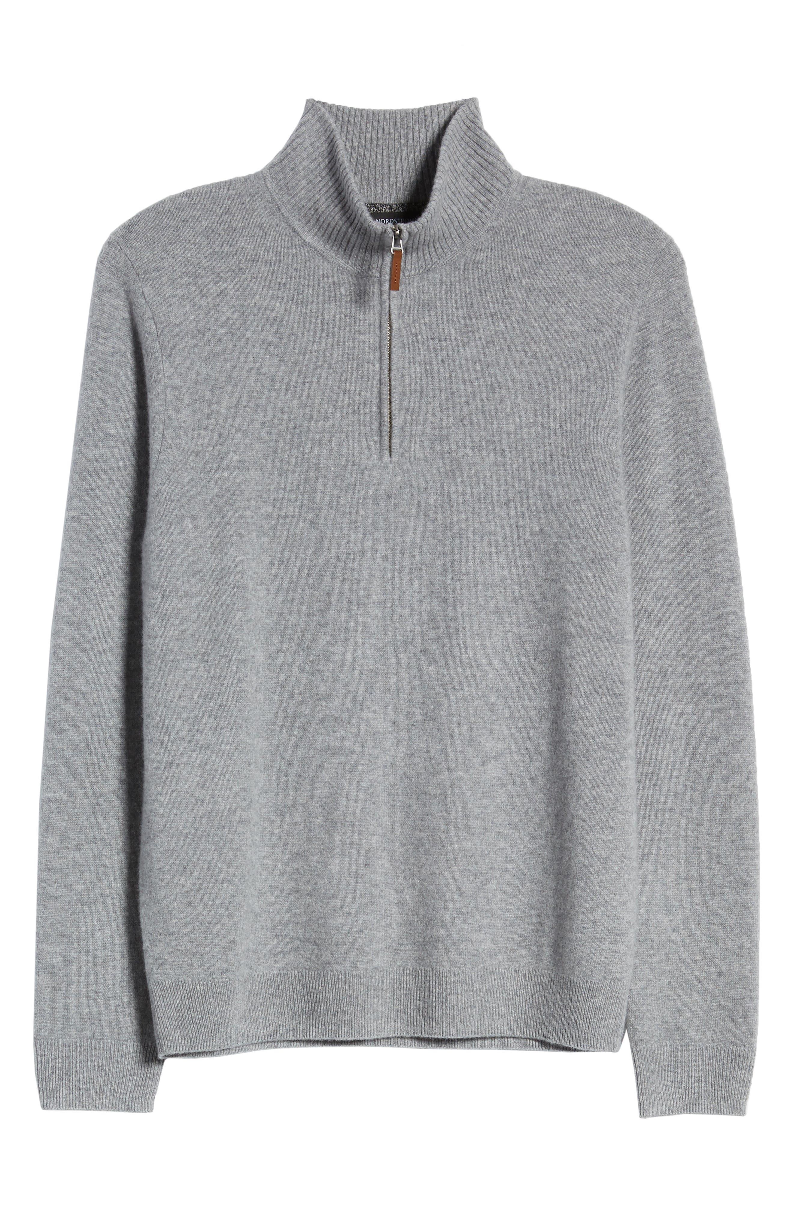 NORDSTROM MEN'S SHOP, Regular Fit Cashmere Quarter Zip Pullover, Alternate thumbnail 6, color, GREY DRIFTWOOD