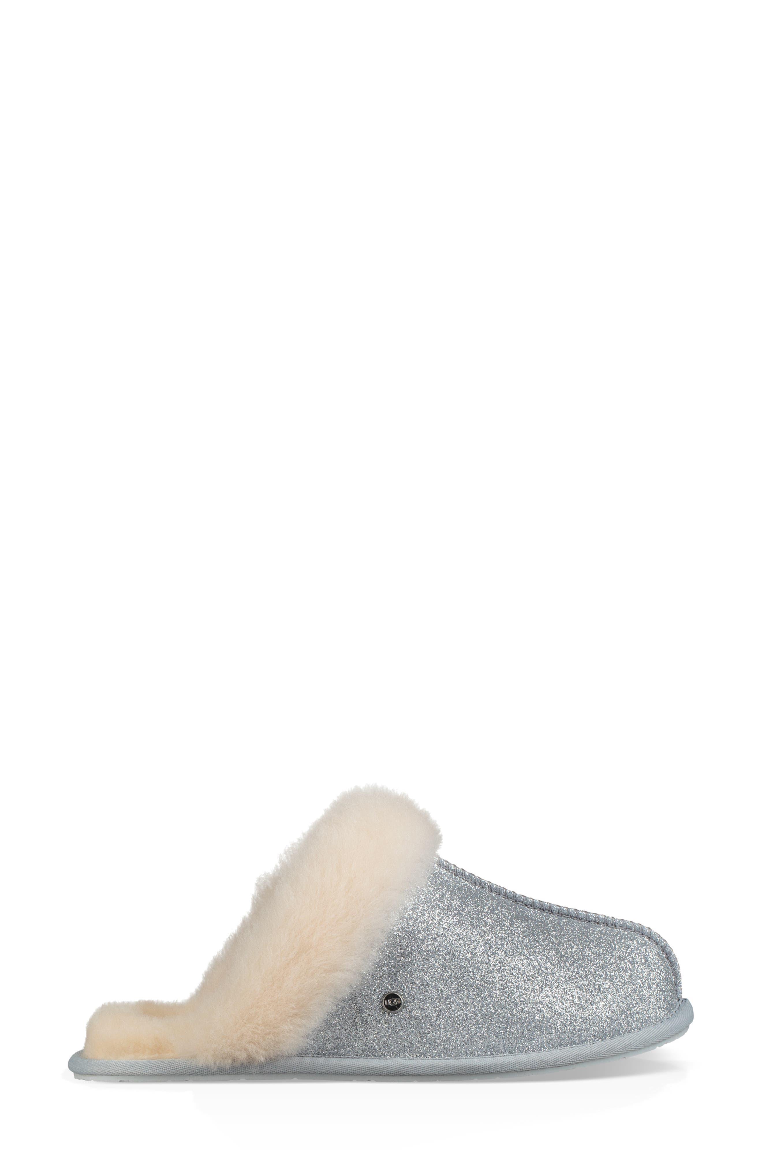 UGG<SUP>®</SUP>, Scuffette II Sparkle Genuine Shearling Slipper, Alternate thumbnail 3, color, SILVER