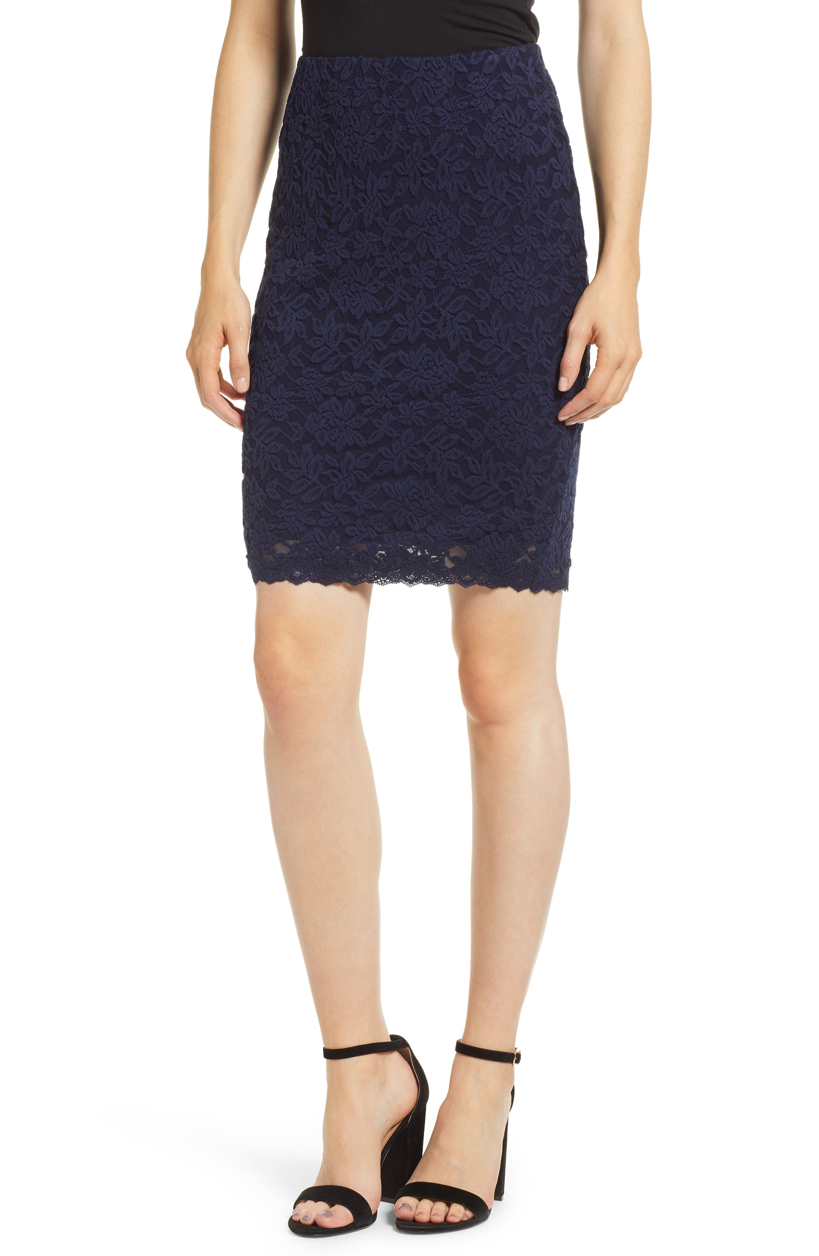 ROSEMUNDE Delicia Lace Skirt, Main, color, MARITIME BLUE