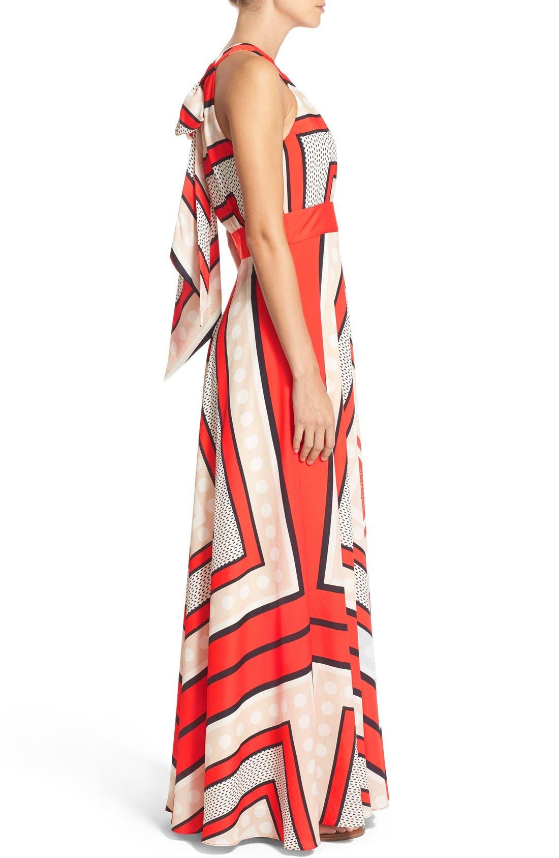 ELIZA J, Scarf Print Crêpe de Chine Fit & Flare Maxi Dress, Alternate thumbnail 9, color, MULTI