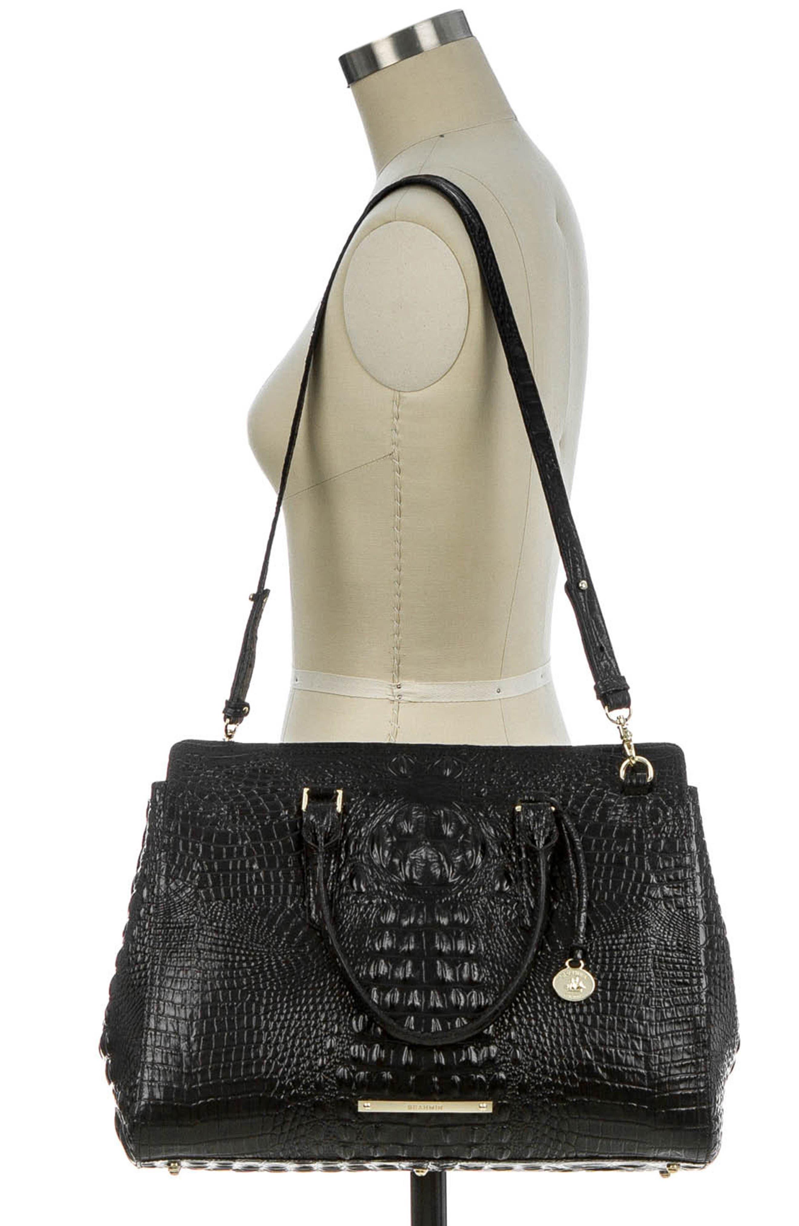 BRAHMIN, Finley Croc Embossed Leather Tote, Alternate thumbnail 2, color, 001