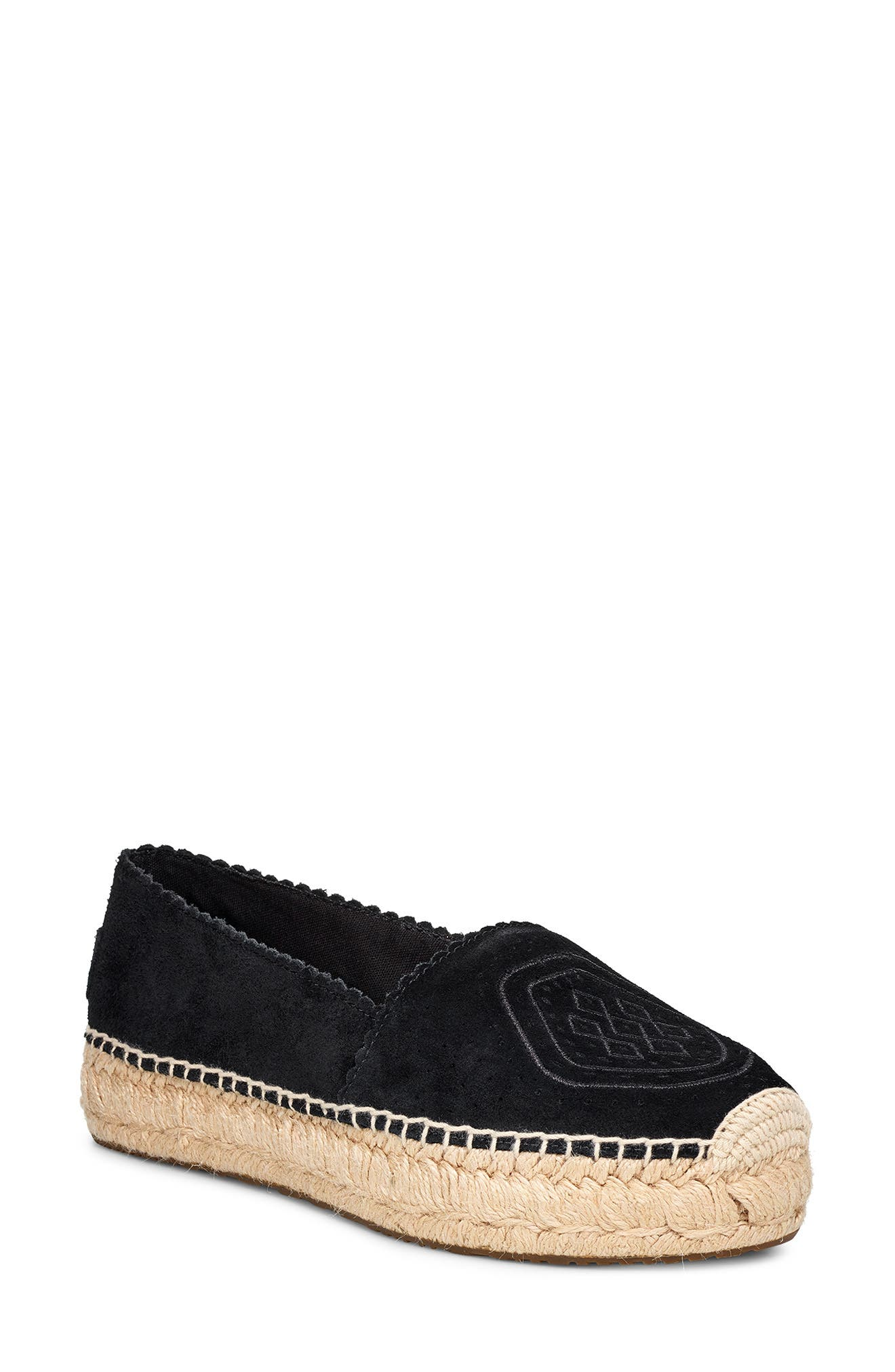 UGG<SUP>®</SUP>, Heidi Perforated Espadrille, Main thumbnail 1, color, BLACK SUEDE