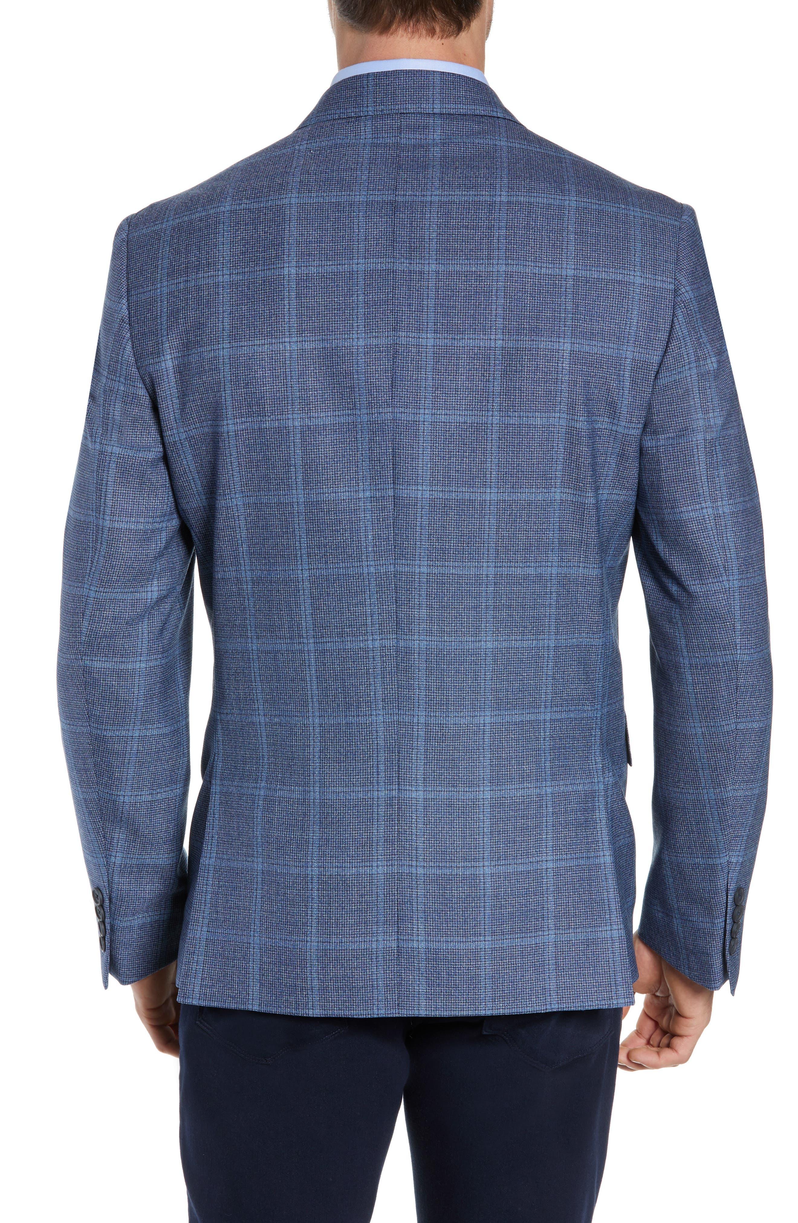JOHN W. NORDSTROM<SUP>®</SUP>, Traditional Fit Windowpane Wool Sport Coat, Alternate thumbnail 2, color, BLUE DARK NAVY WINDOWPANE