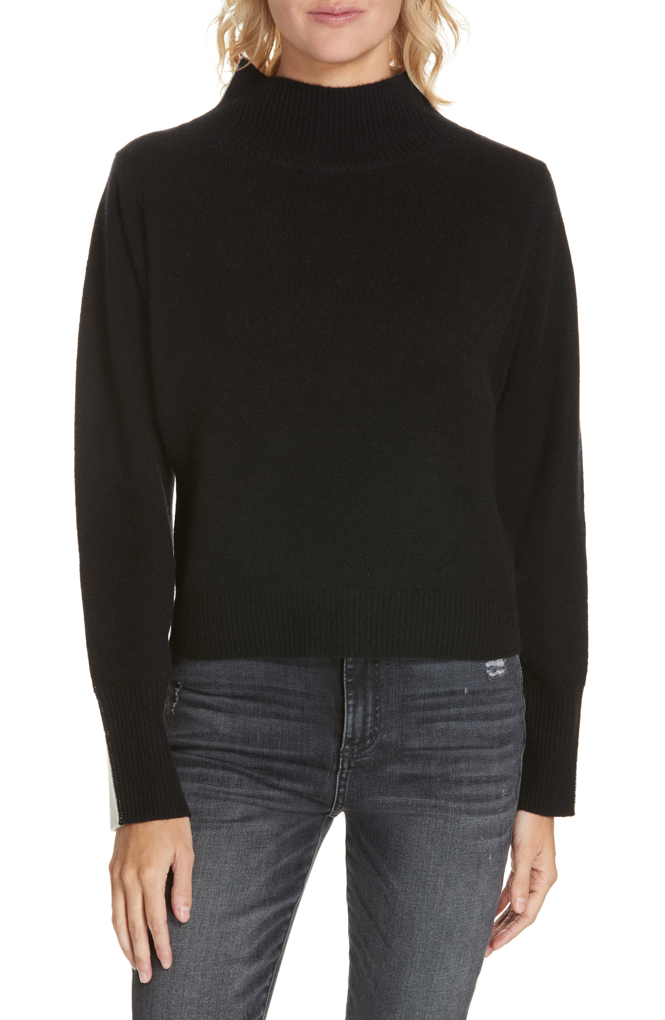 NORDSTROM SIGNATURE Colorblock Cashmere Sweater, Main, color, BLACK- IVORY COMBO