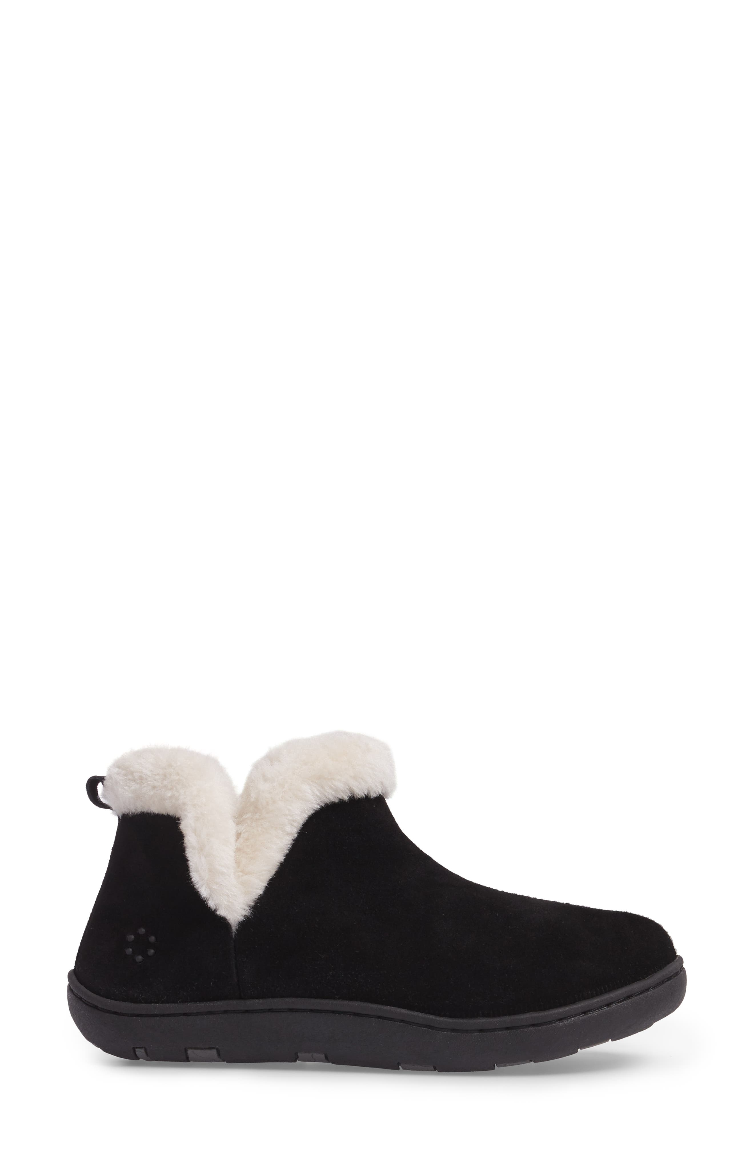 TEMPUR-PEDIC<SUP>®</SUP>, Vallery Bootie Slipper, Alternate thumbnail 3, color, BLACK SUEDE