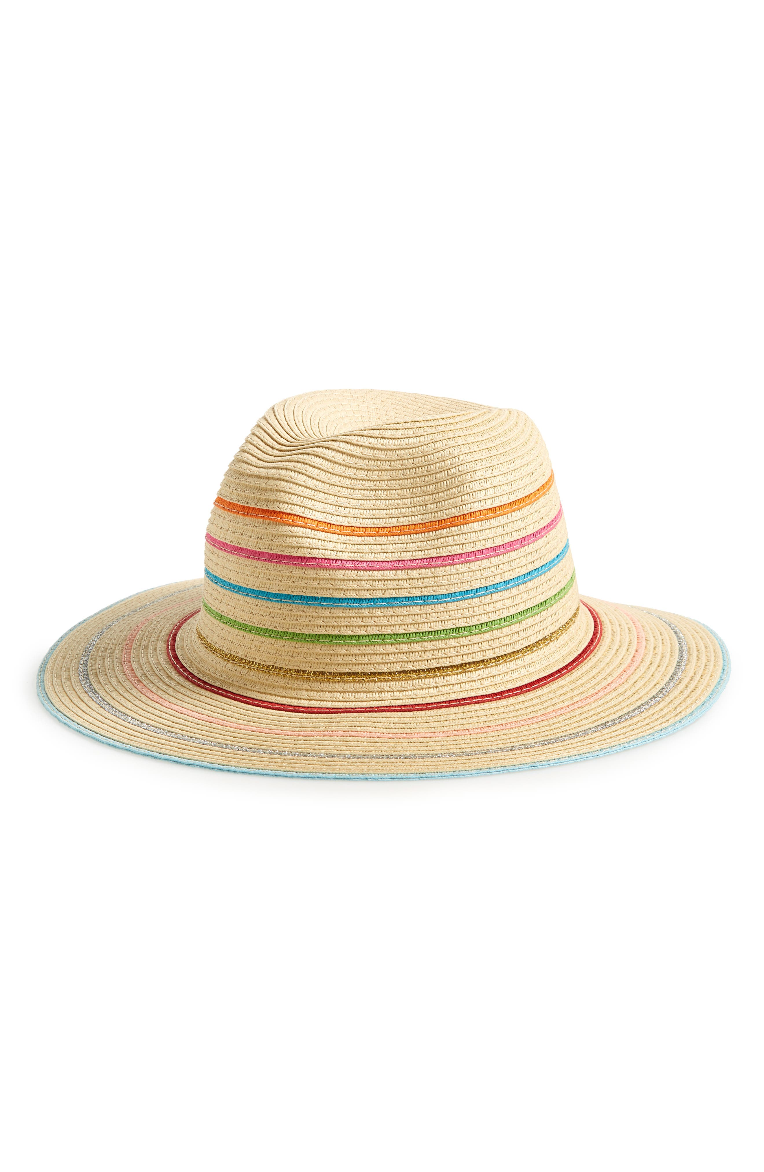 ECHO, Stripe Packable Straw Fedora, Main thumbnail 1, color, 200
