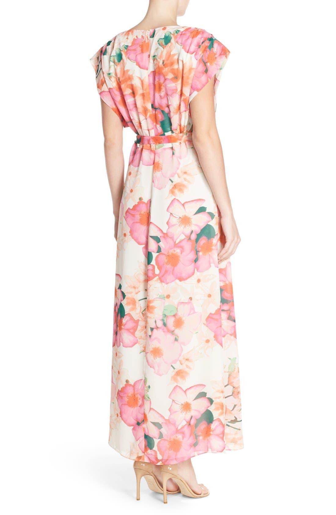 ELIZA J, Floral Print Gown, Alternate thumbnail 5, color, 653