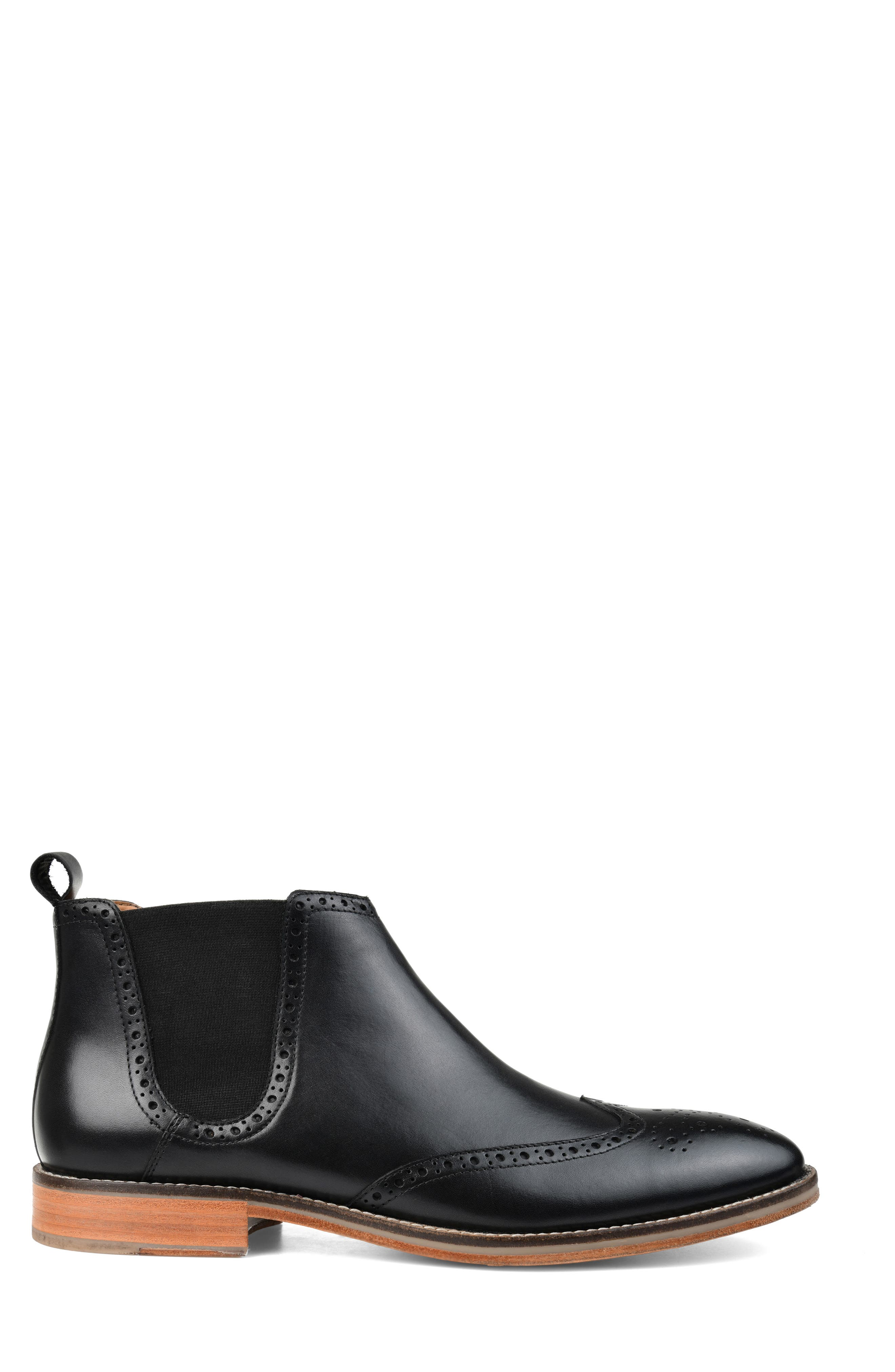 THOMAS AND VINE, Thorne Wingtip Chelsea Boot, Alternate thumbnail 3, color, BLACK LEATHER