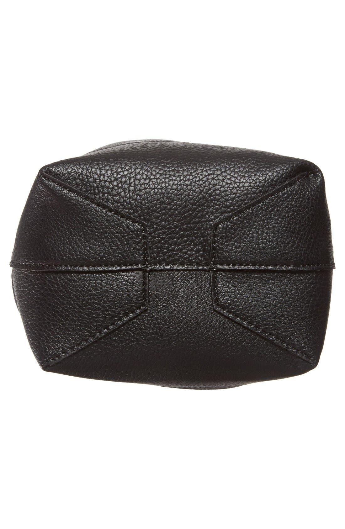STREET LEVEL, Faux Leather Bucket Bag, Alternate thumbnail 4, color, 001