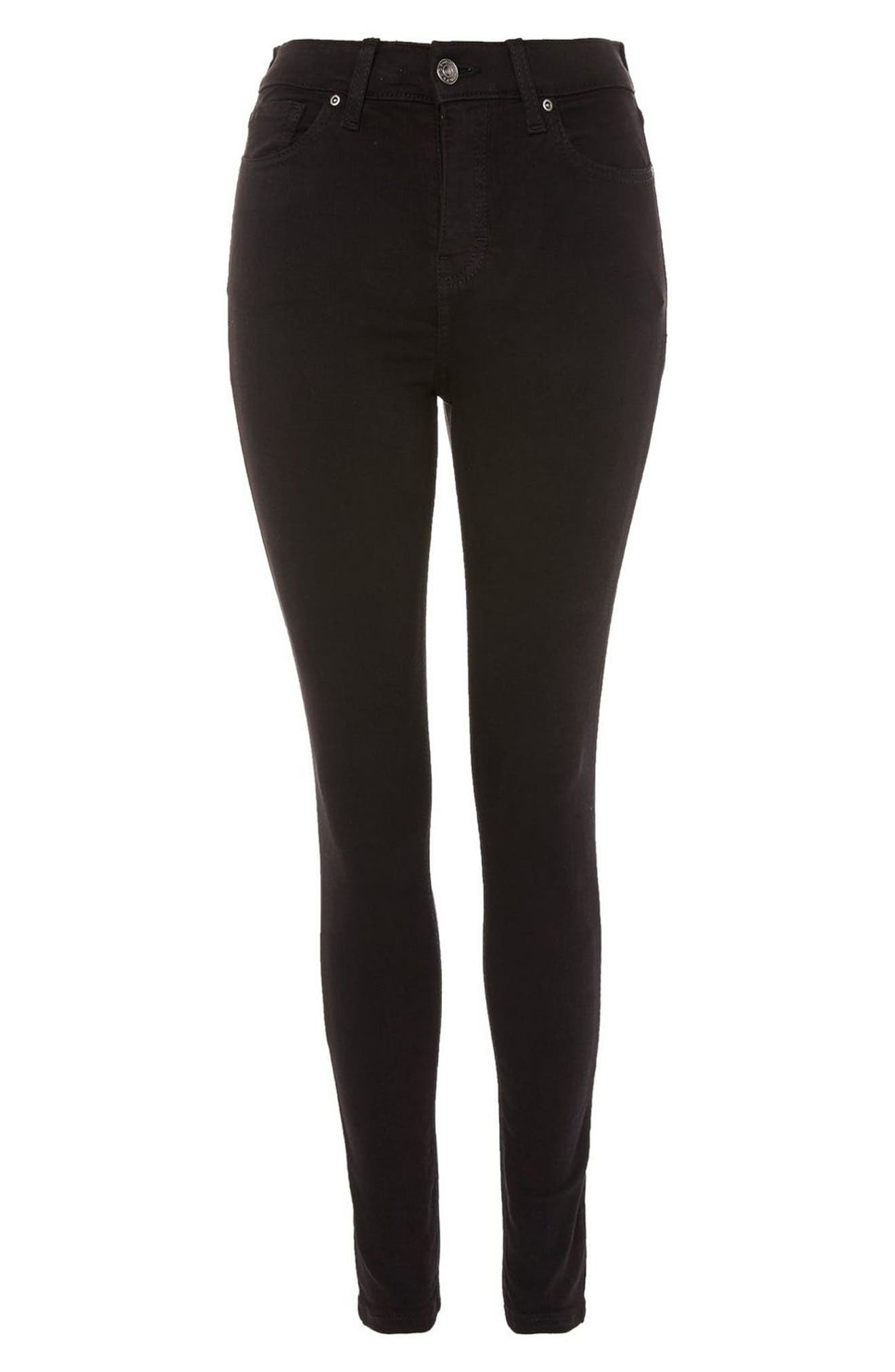 TOPSHOP, Jamie Black Jeans, Alternate thumbnail 5, color, BLACK