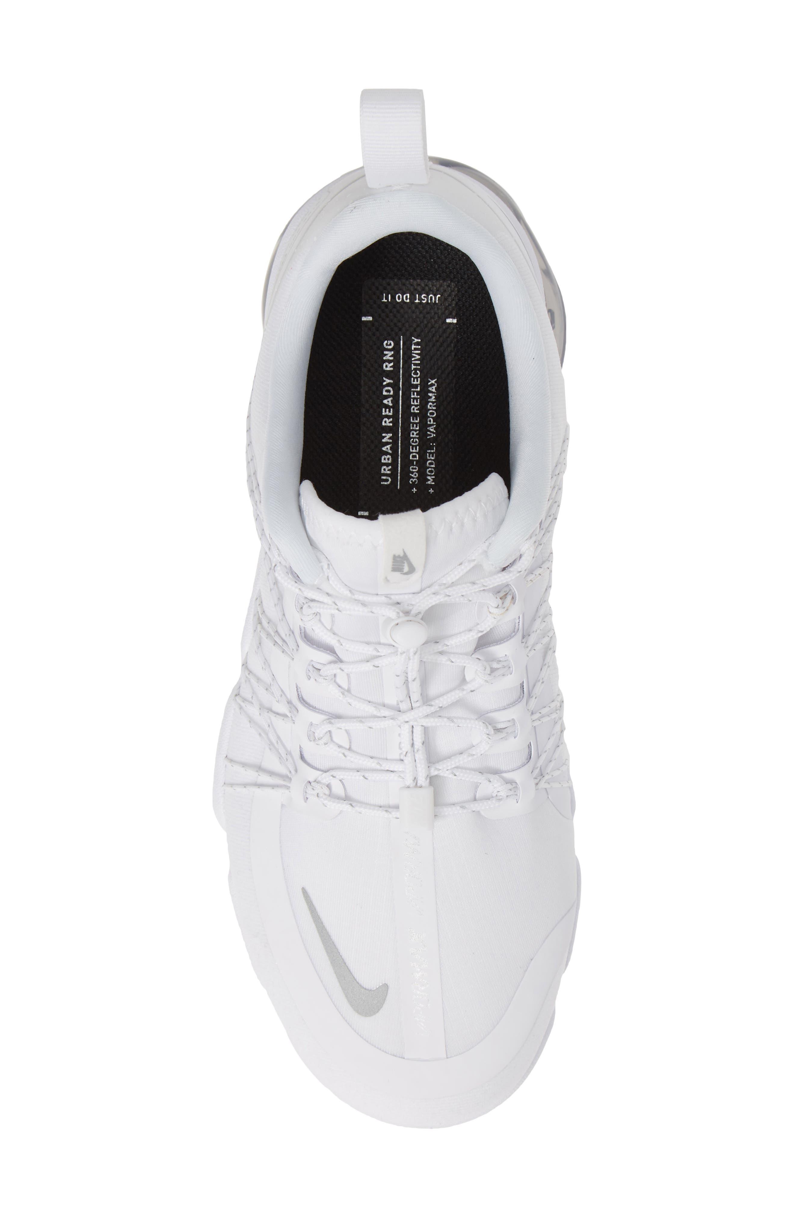 NIKE, Air VaporMax Run Utility Sneaker, Alternate thumbnail 5, color, WHITE/ REFLECT SILVER/ WHITE