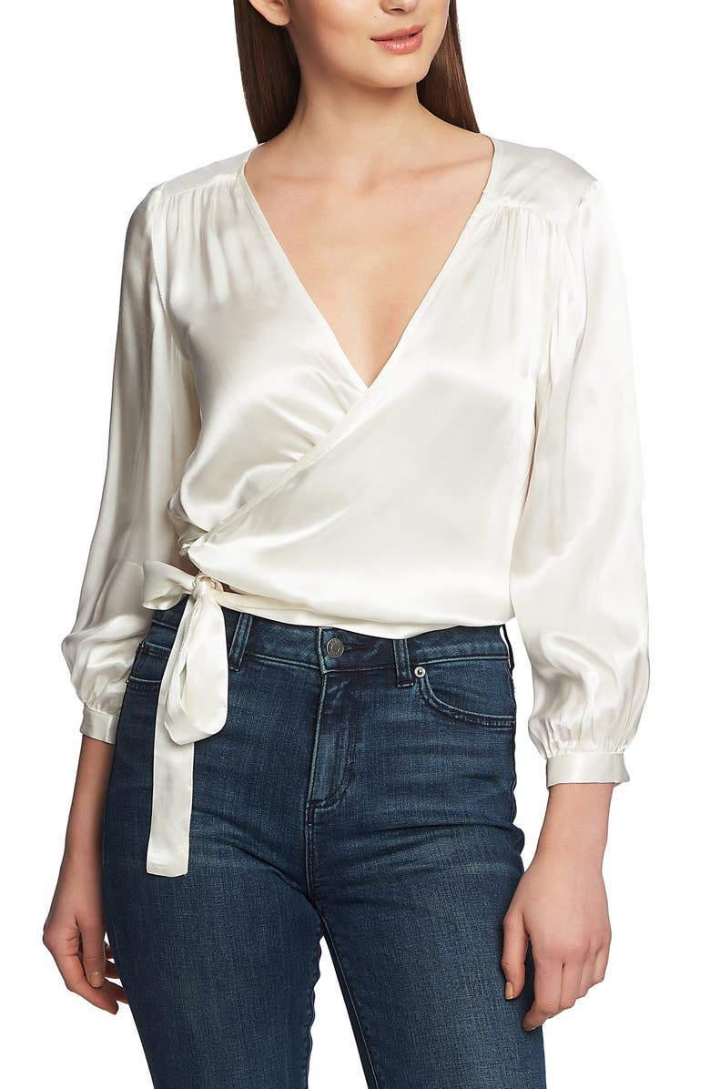 1.state Tops WRAP FRONT BLOUSE