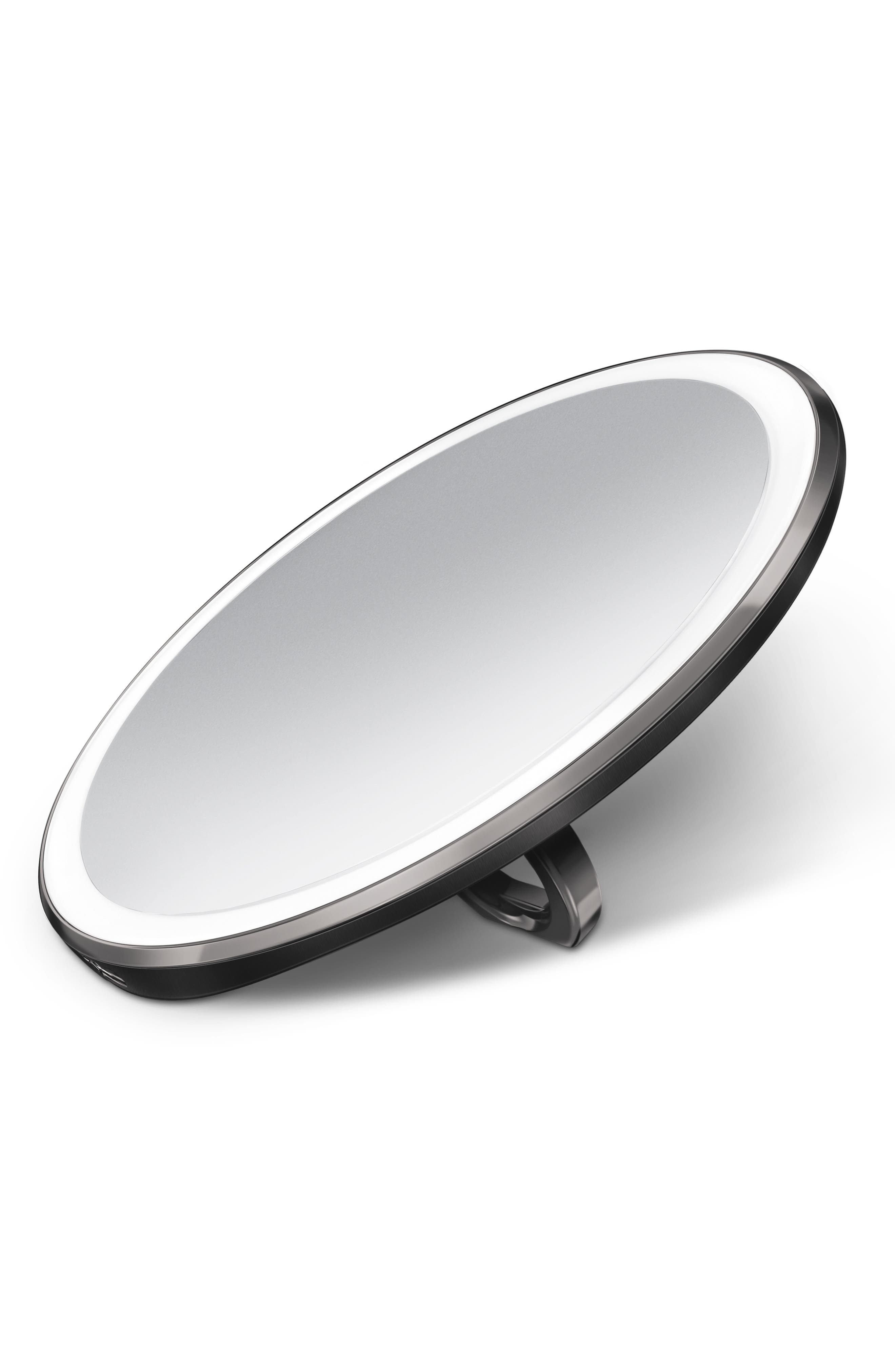 SIMPLEHUMAN, 4-Inch Sensor Mirror Compact, Alternate thumbnail 3, color, BLACK