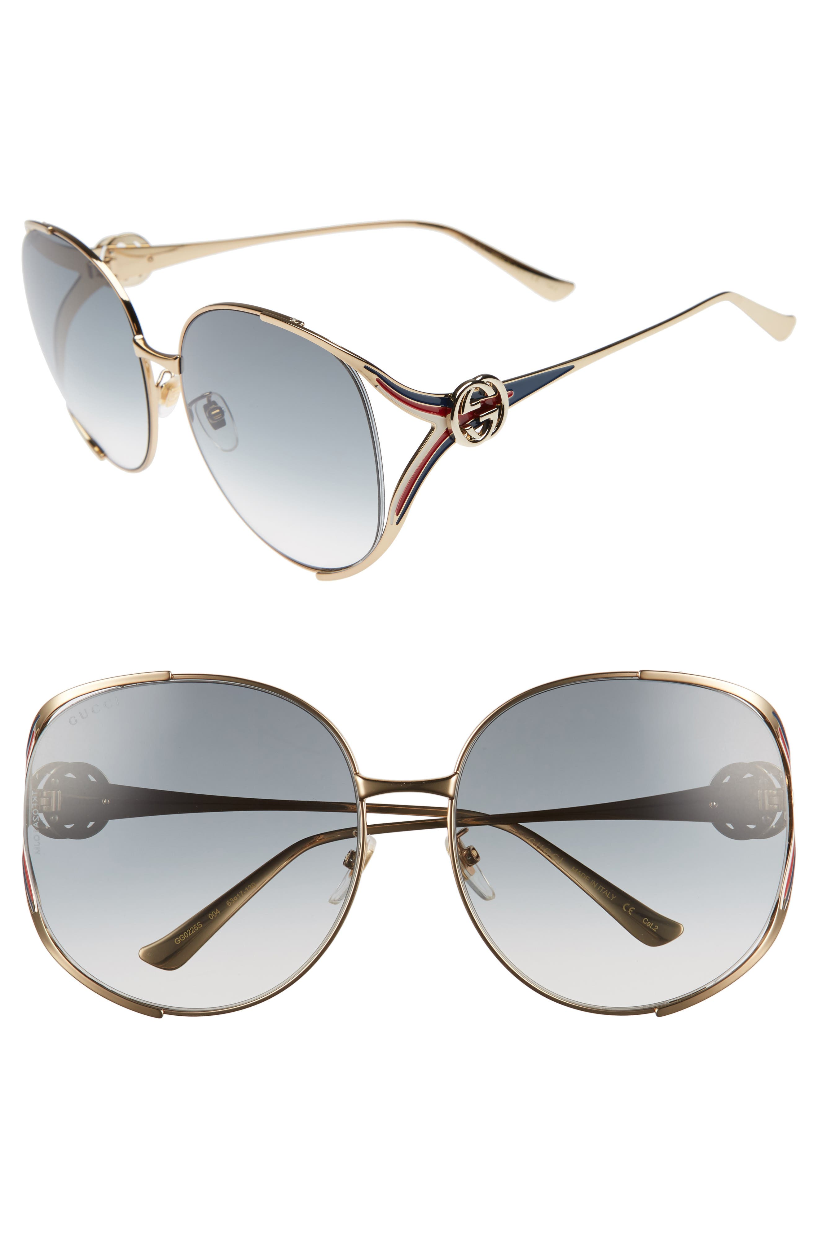 GUCCI 63mm Open Temple Sunglasses, Main, color, GOLD/ GREY