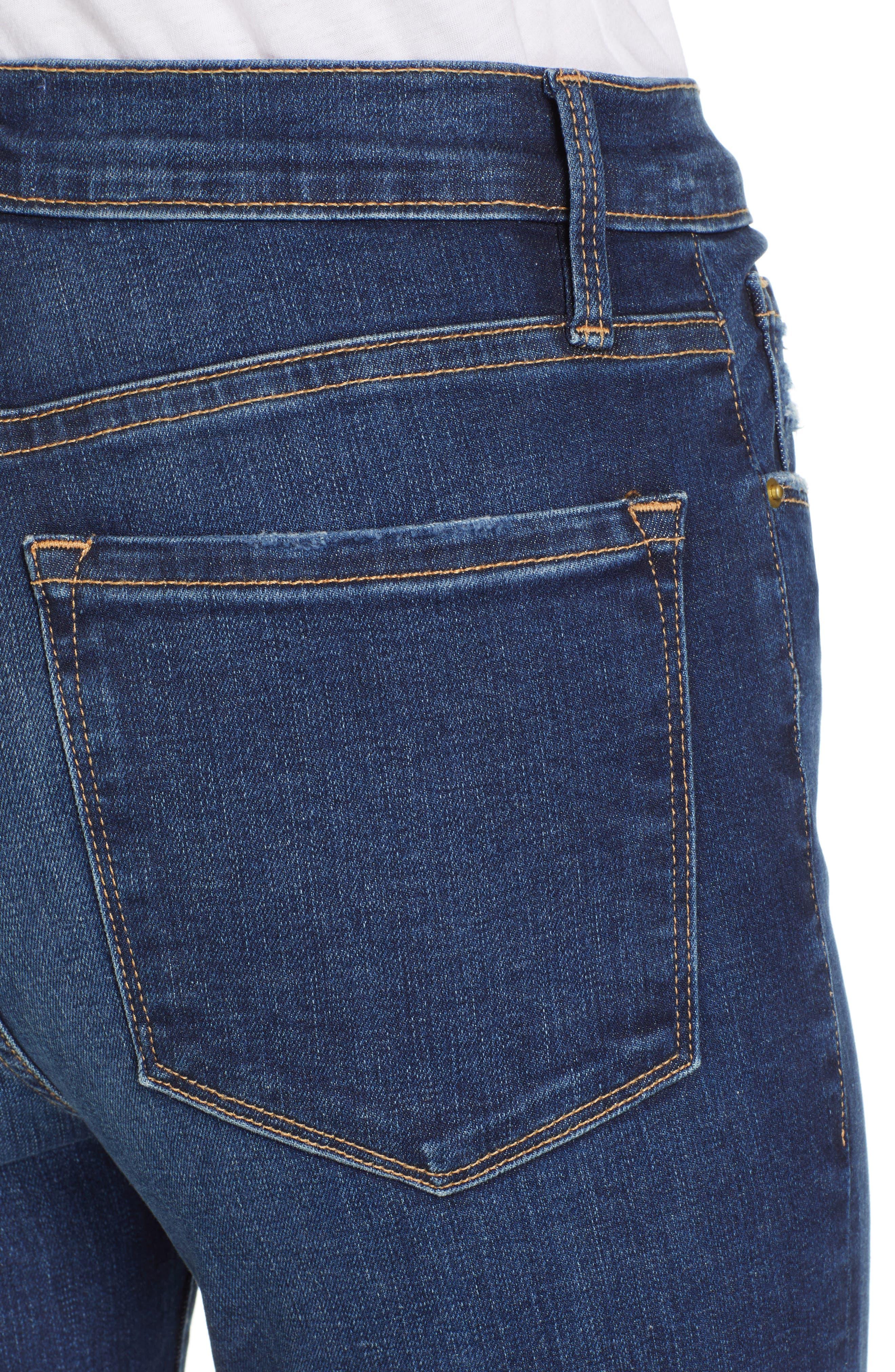 FRAME, Ali High Waist Crop Cigarette Skinny Jeans, Alternate thumbnail 4, color, MANO