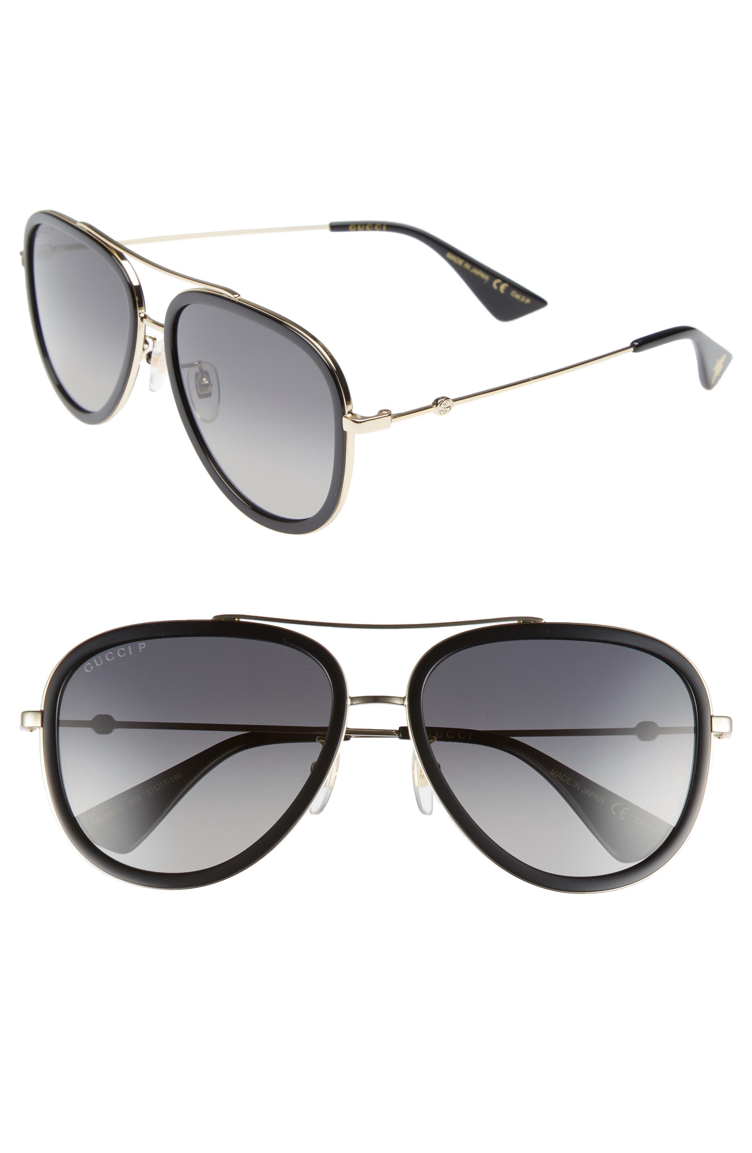 GUCCI Web Block Pilot 57mm Polarized Aviator Sunglasses, Main, color, GOLD/ BLACK