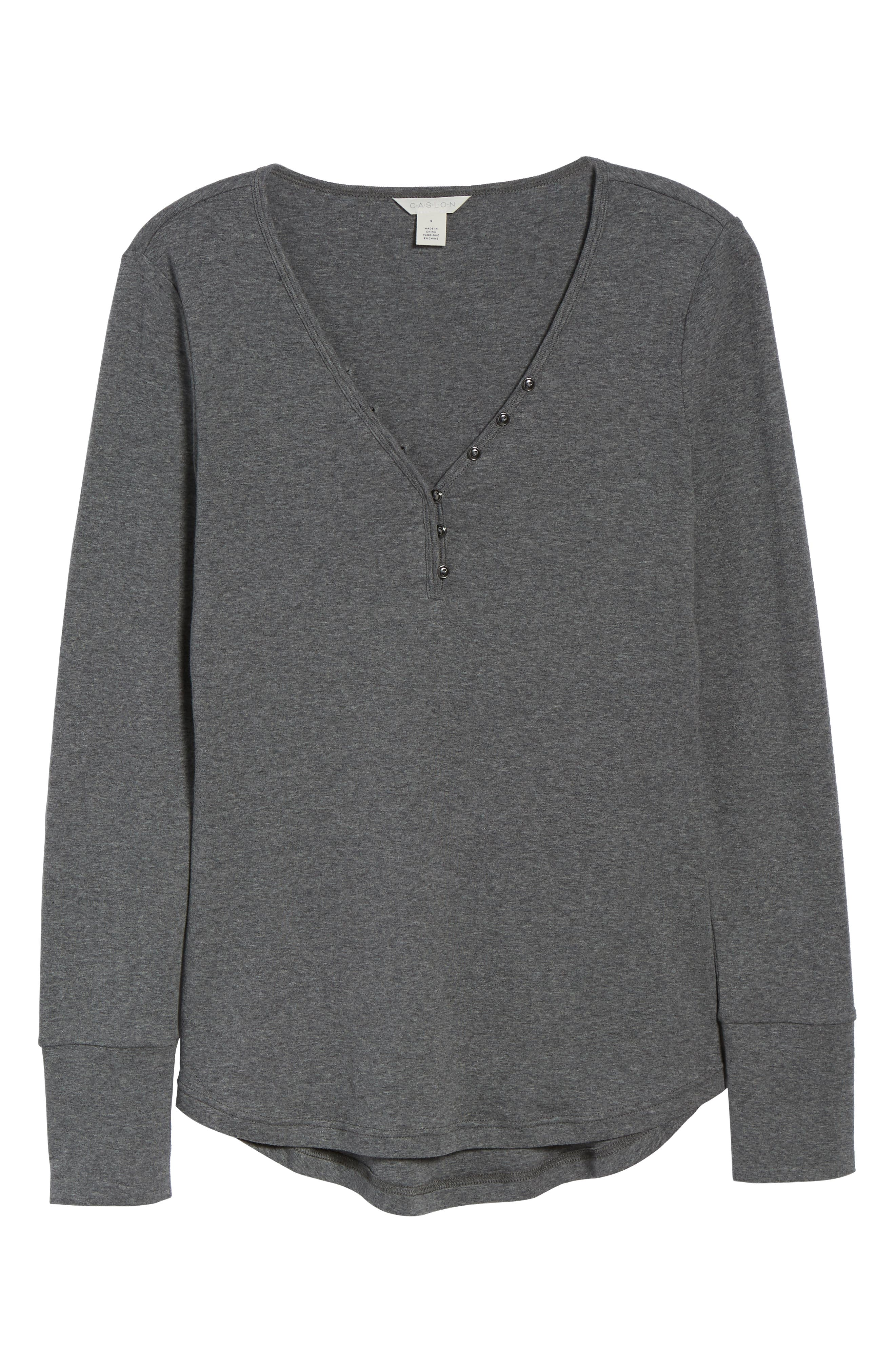 CASLON<SUP>®</SUP>, V-Neck Henley, Alternate thumbnail 6, color, 020