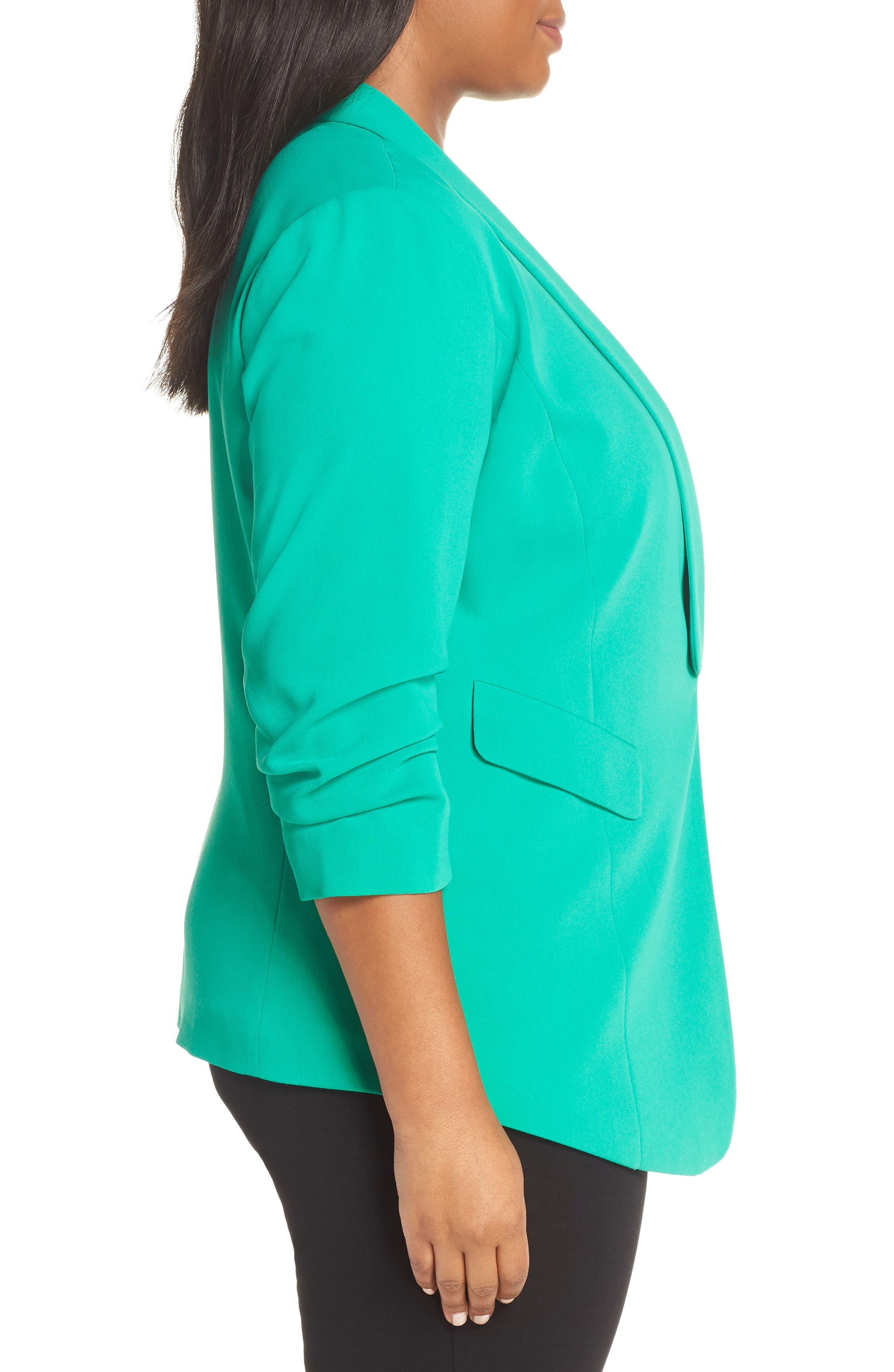 SEJOUR, Gathered Sleeve Blazer, Alternate thumbnail 4, color, GREEN PARAKEET