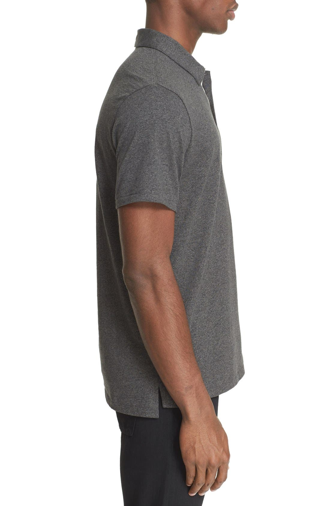 RAG & BONE, Standard Issue Regular Fit Slub Cotton Polo, Alternate thumbnail 6, color, PEWTER
