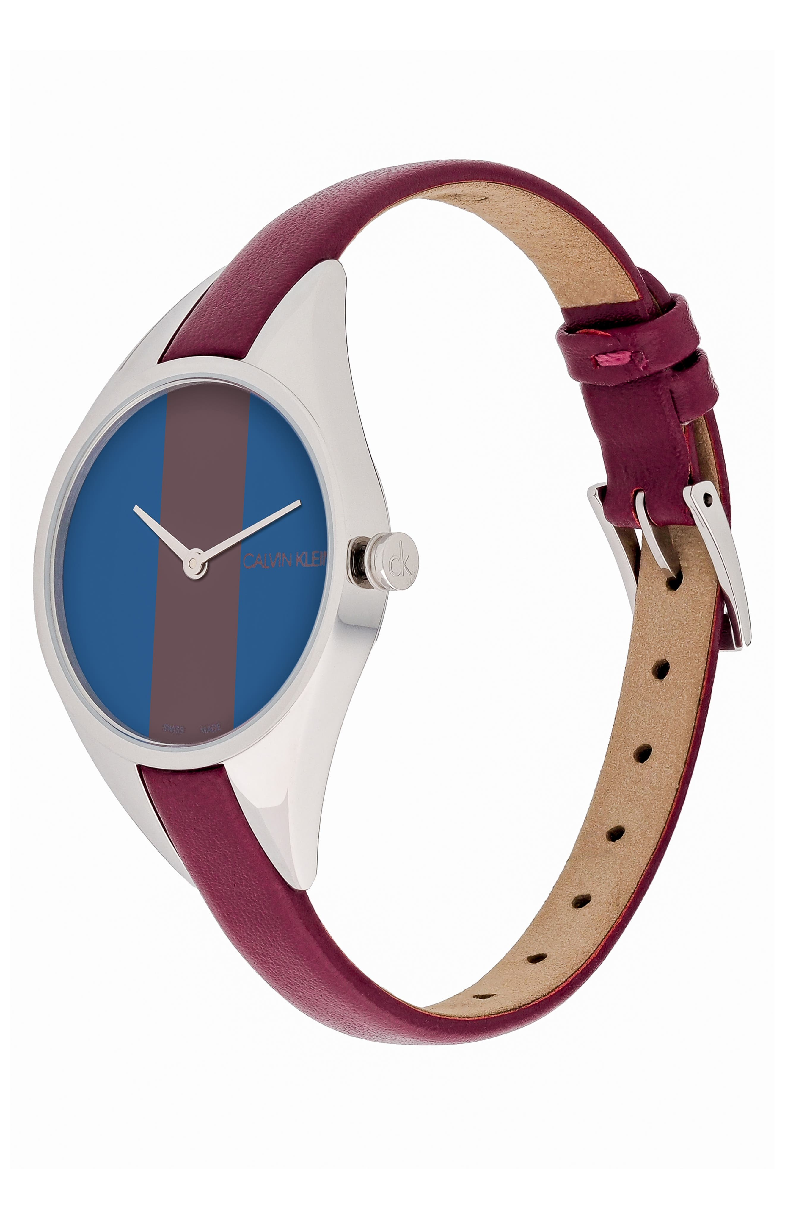 CALVIN KLEIN, Achieve Rebel Leather Band Watch, 29mm, Alternate thumbnail 4, color, RED/ BLUE/ SILVER