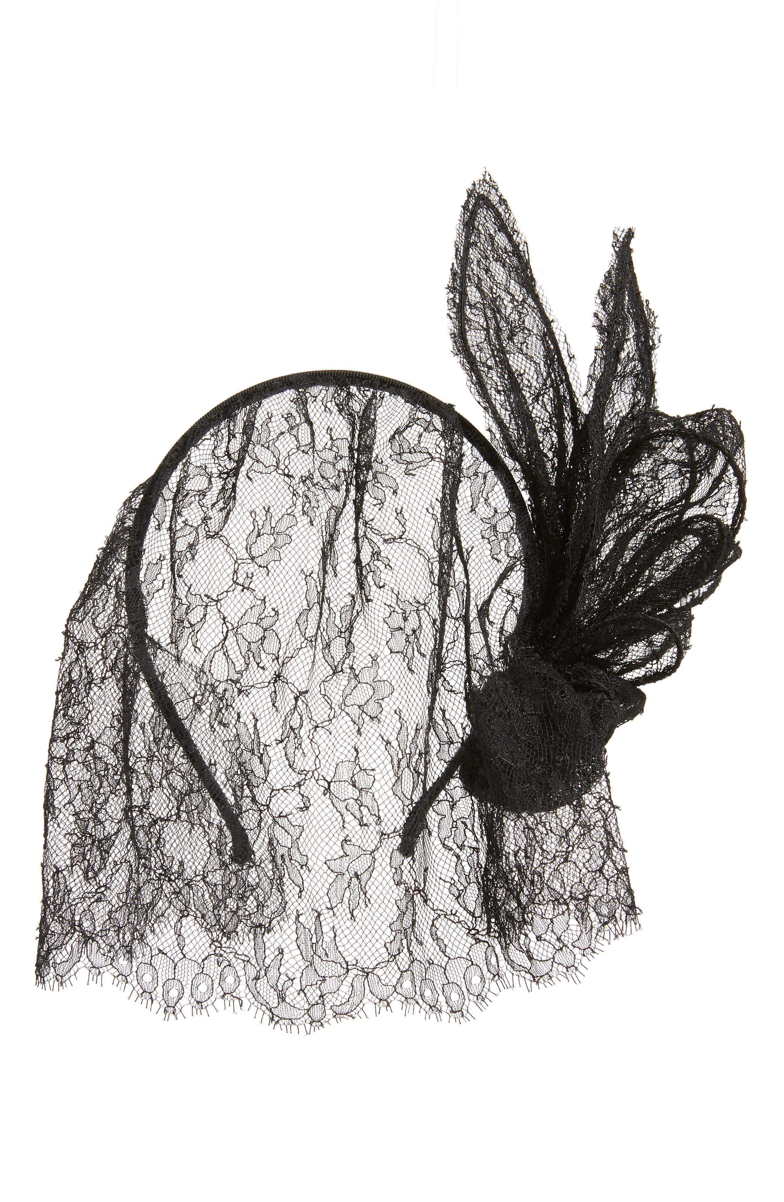 MAISON MICHEL Clémentine Lace Veil Headband, Main, color, BLACK