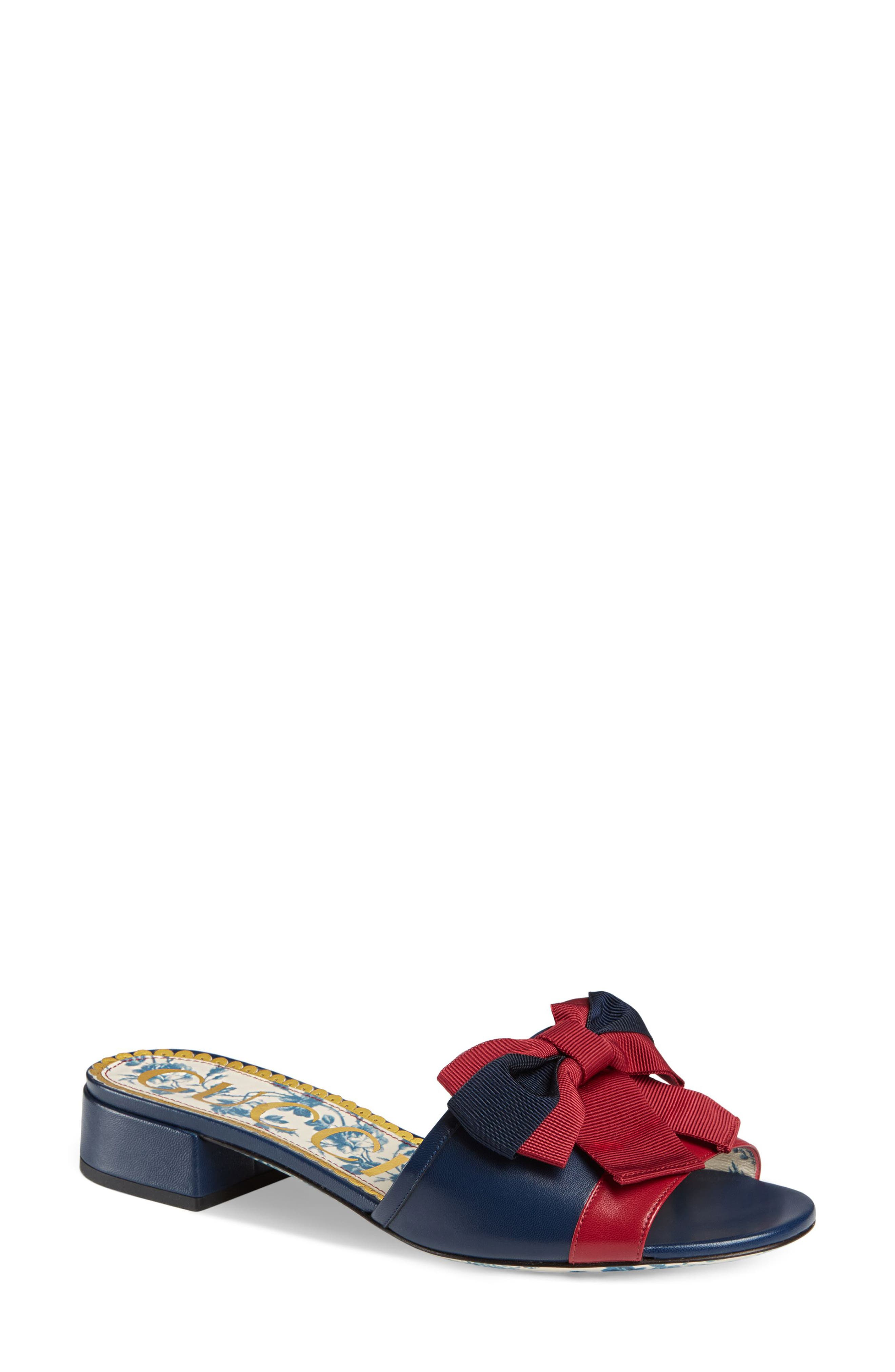 GUCCI, Sackville Bow Sandal, Main thumbnail 1, color, BLUE/ RED