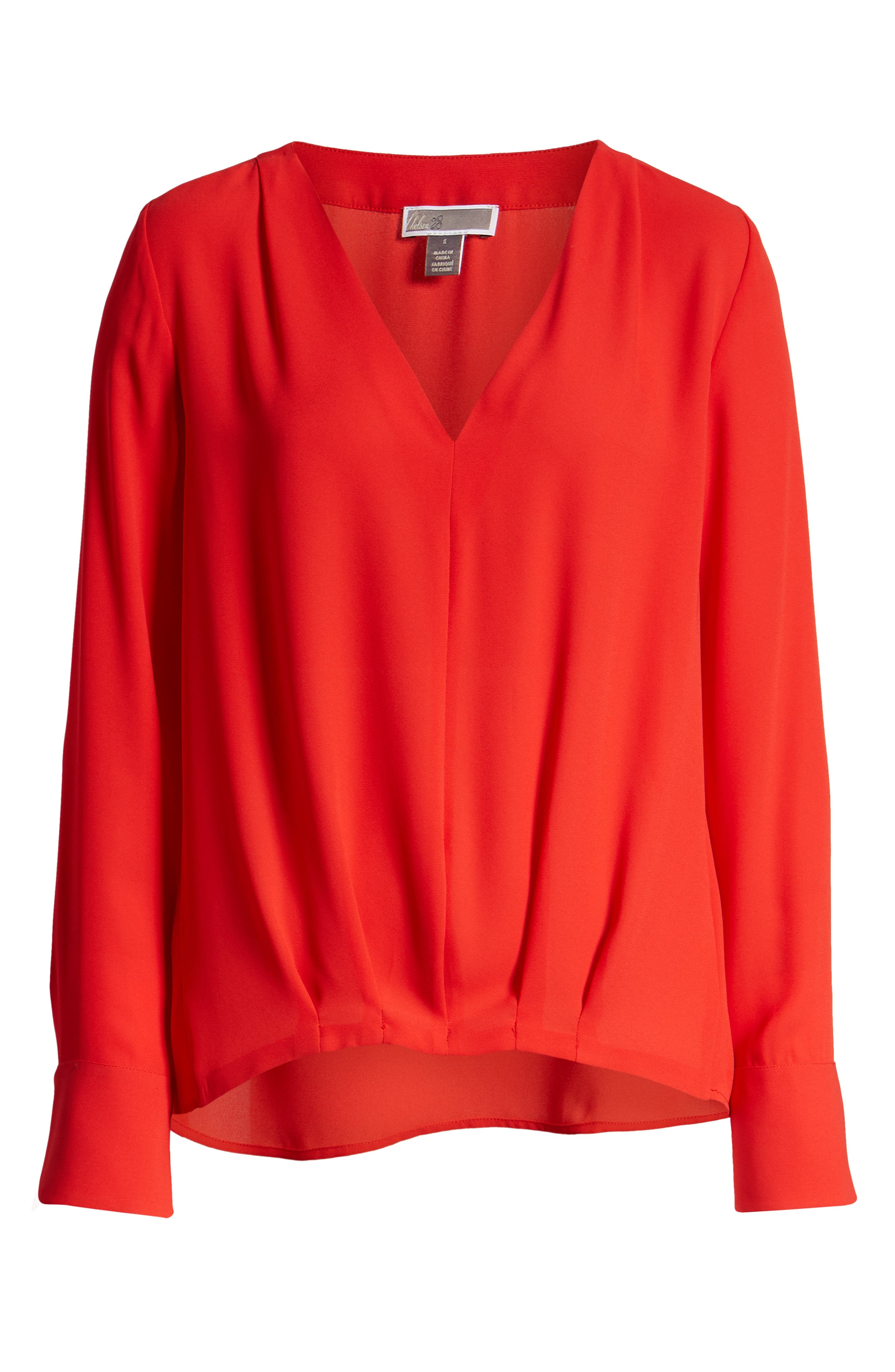 CHELSEA28, Tucked Top, Alternate thumbnail 6, color, RED CHINOISE