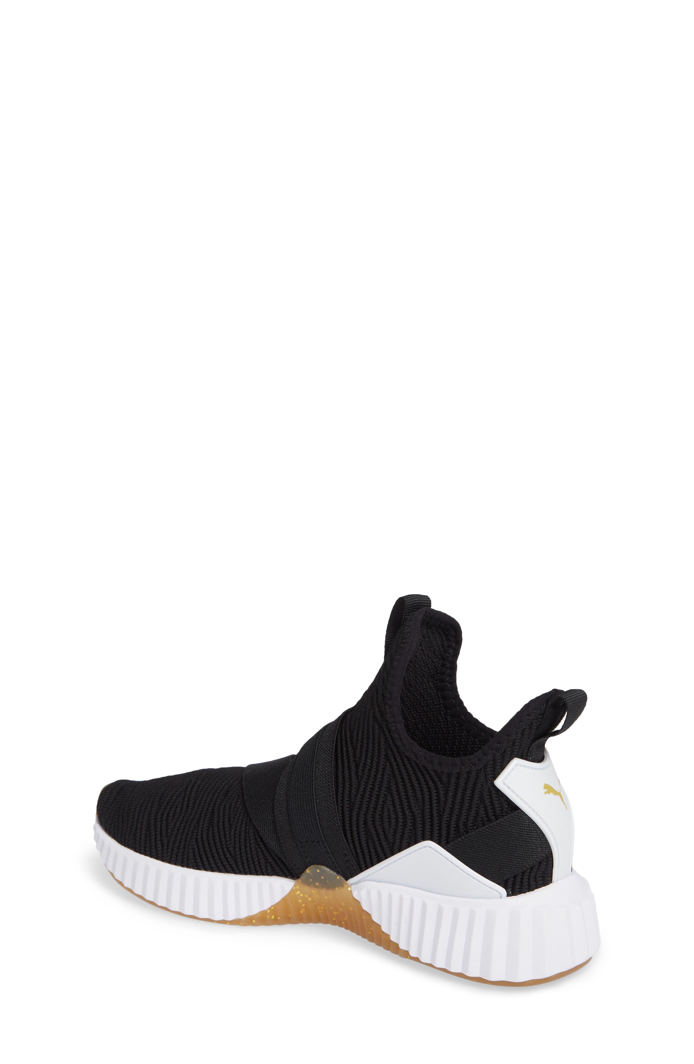 PUMA, Defy Mid Varsity Sneaker, Alternate thumbnail 2, color, BLACK/ METALLIC GOLD