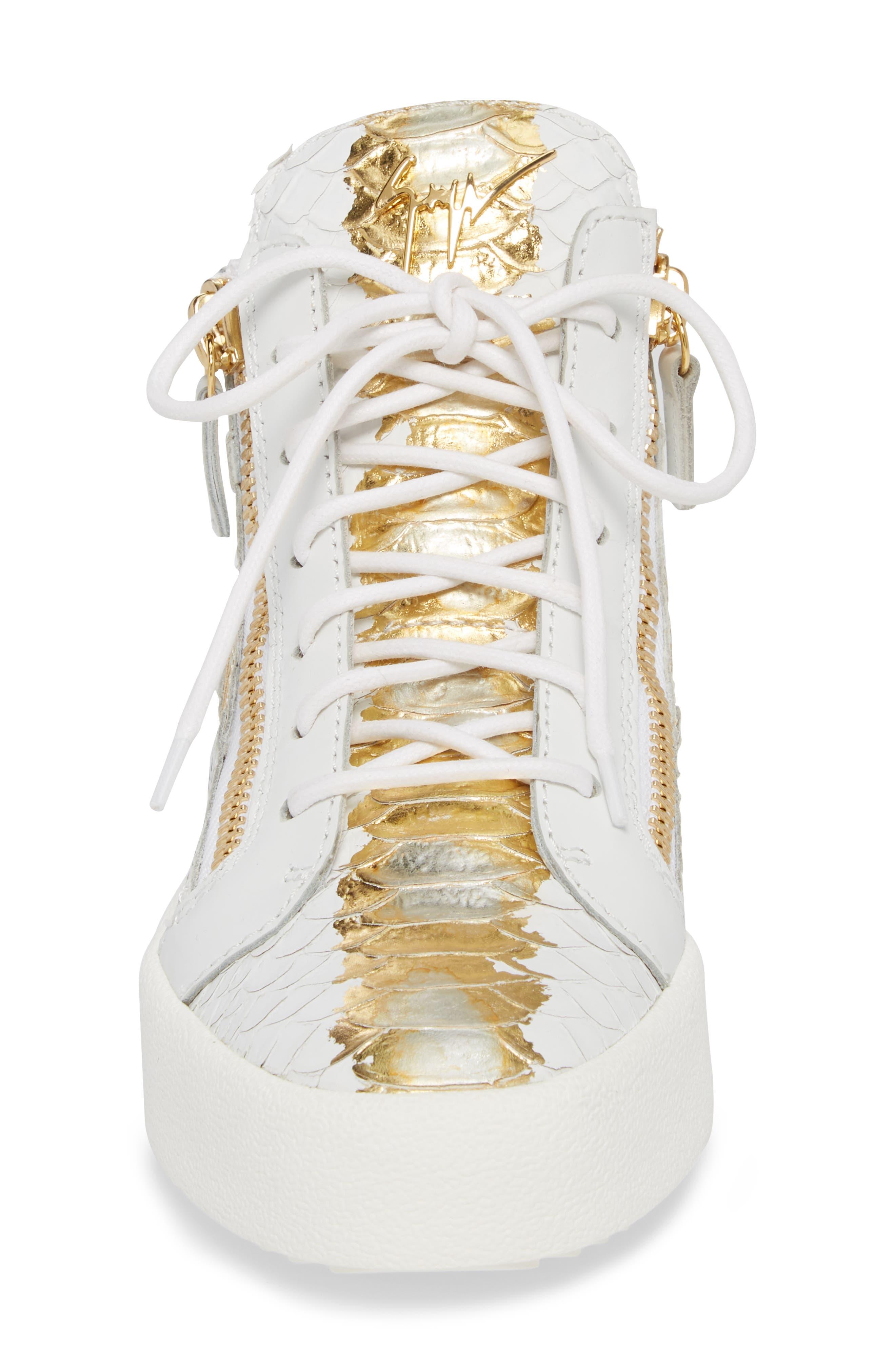 GIUSEPPE ZANOTTI, May London Mid Top Sneaker, Alternate thumbnail 4, color, WHITE/NEON YELLOW