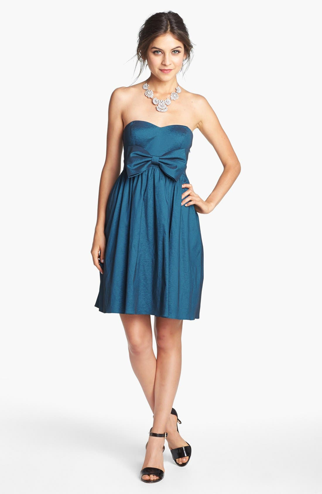 HAILEY BY ADRIANNA PAPELL, Bow Detail Taffeta Fit & Flare Dress, Main thumbnail 1, color, 403