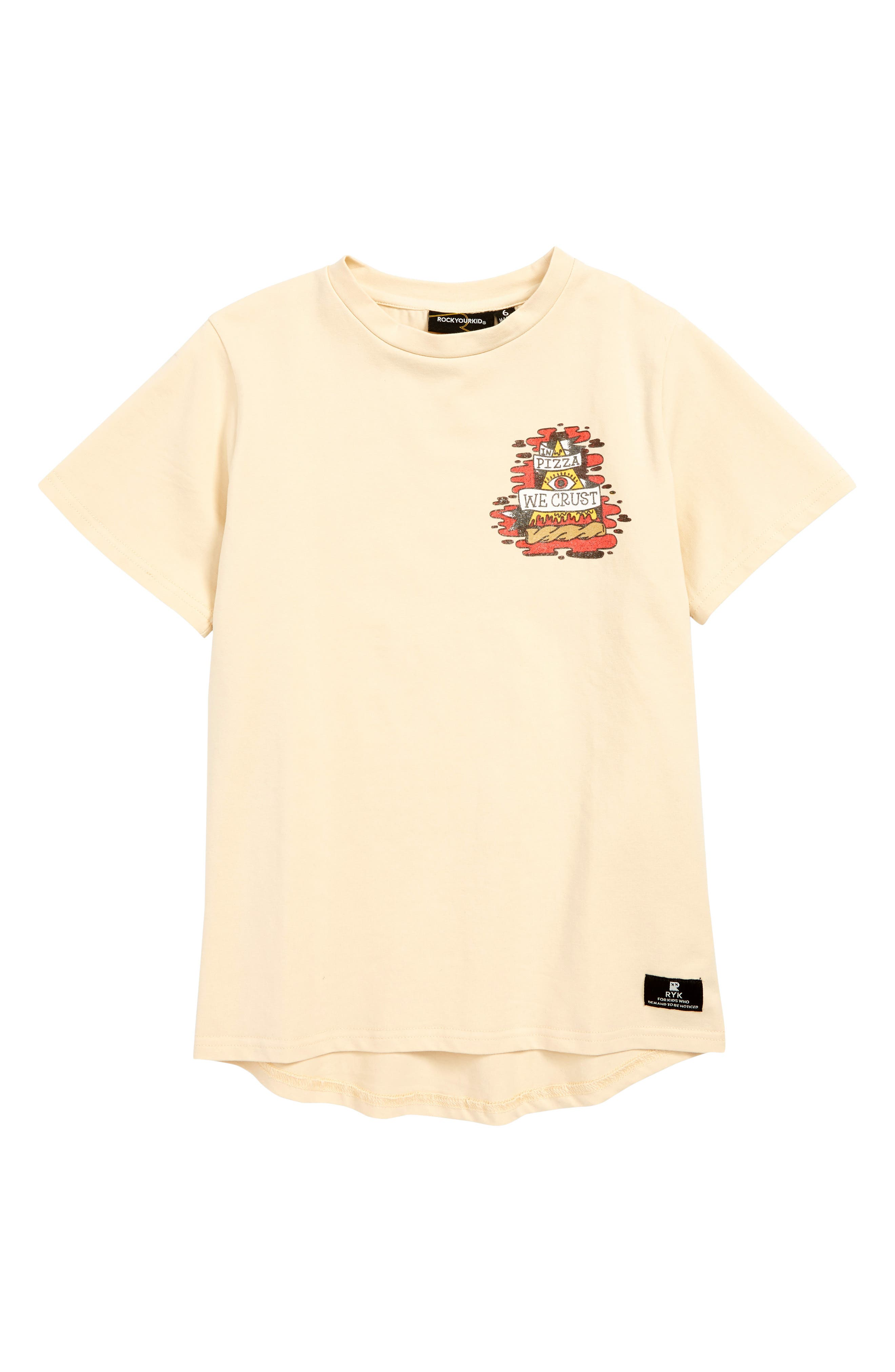 ROCK YOUR KID, In Pizza We Crust T-Shirt, Main thumbnail 1, color, OATMEAL