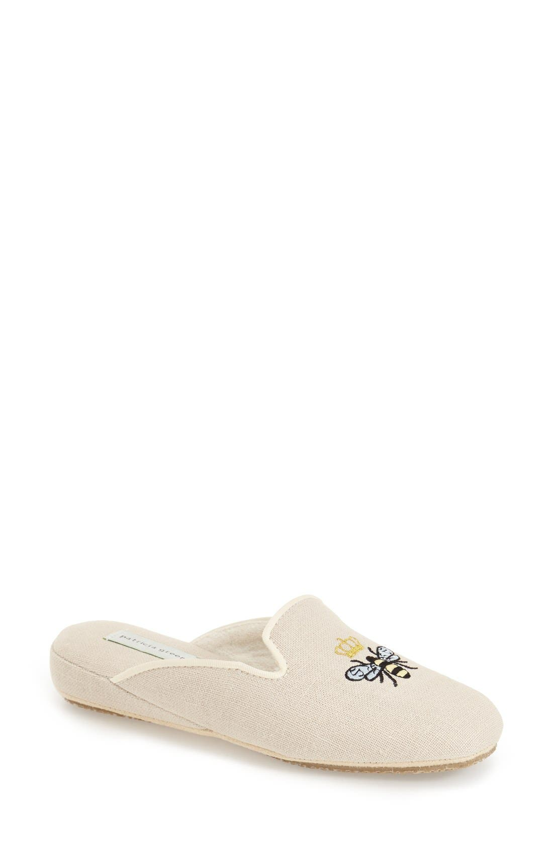 PATRICIA GREEN, 'Queen Bee' Embroidered Slipper, Main thumbnail 1, color, NATURAL