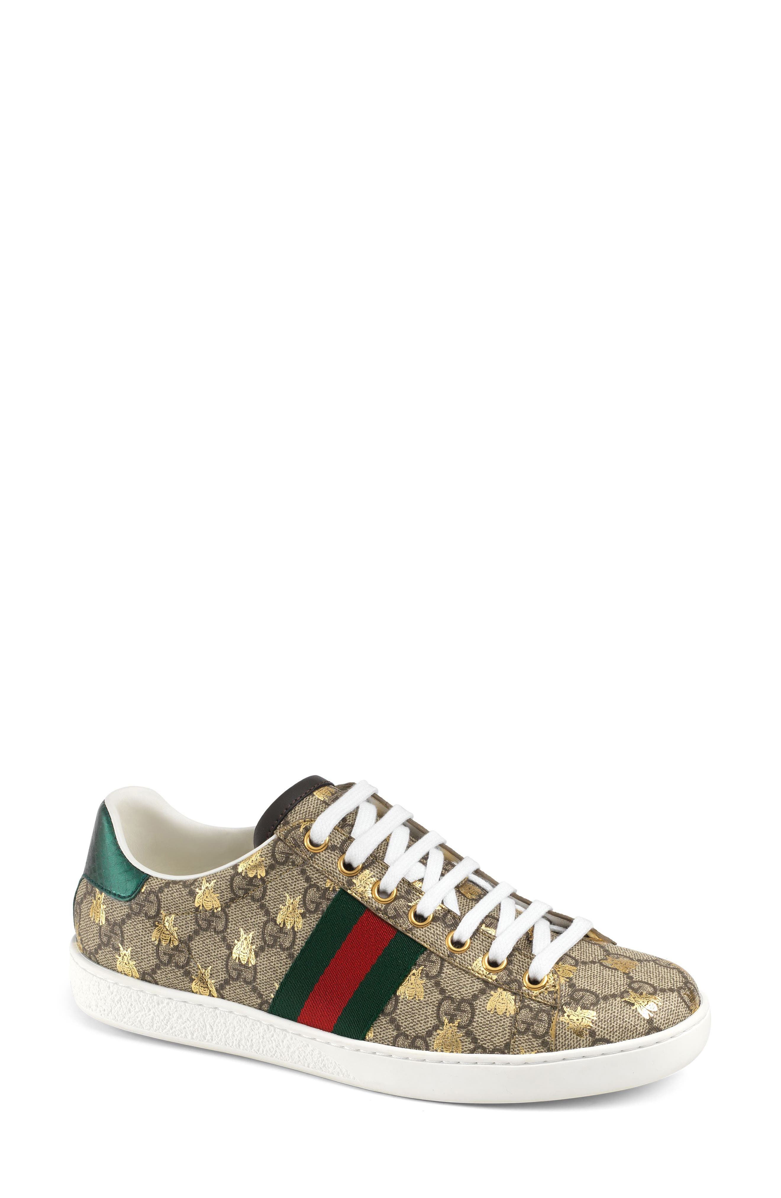 GUCCI, New Ace Monogram Bee Sneaker, Main thumbnail 1, color, BEIGE/ GOLD