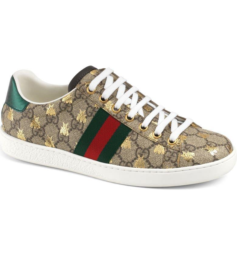 e16365b3ed2 Gucci New Ace Monogram Bee Sneaker (Women)