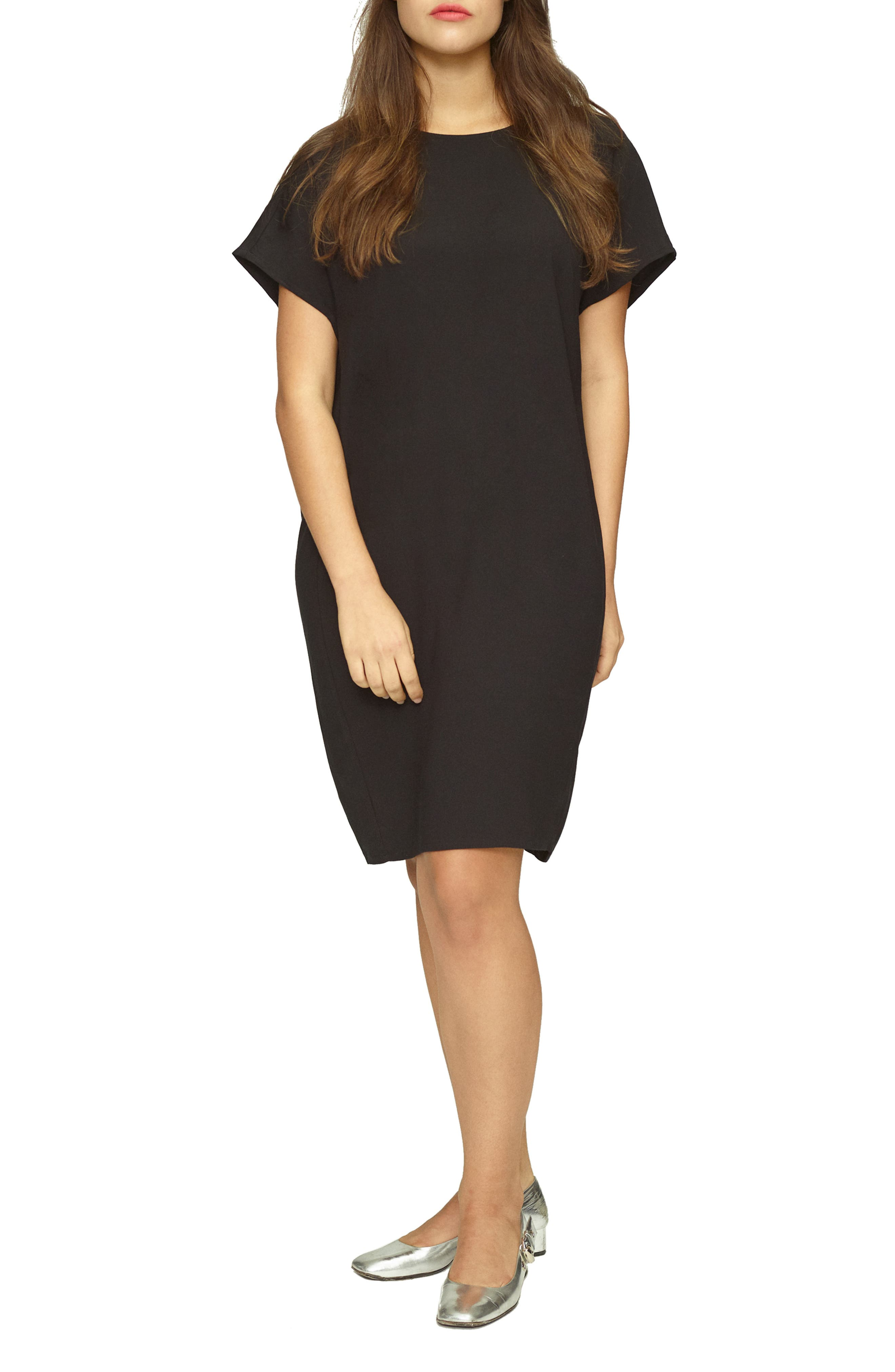 UNIVERSAL STANDARD, Luxe Twill Sheath Dress, Main thumbnail 1, color, 001