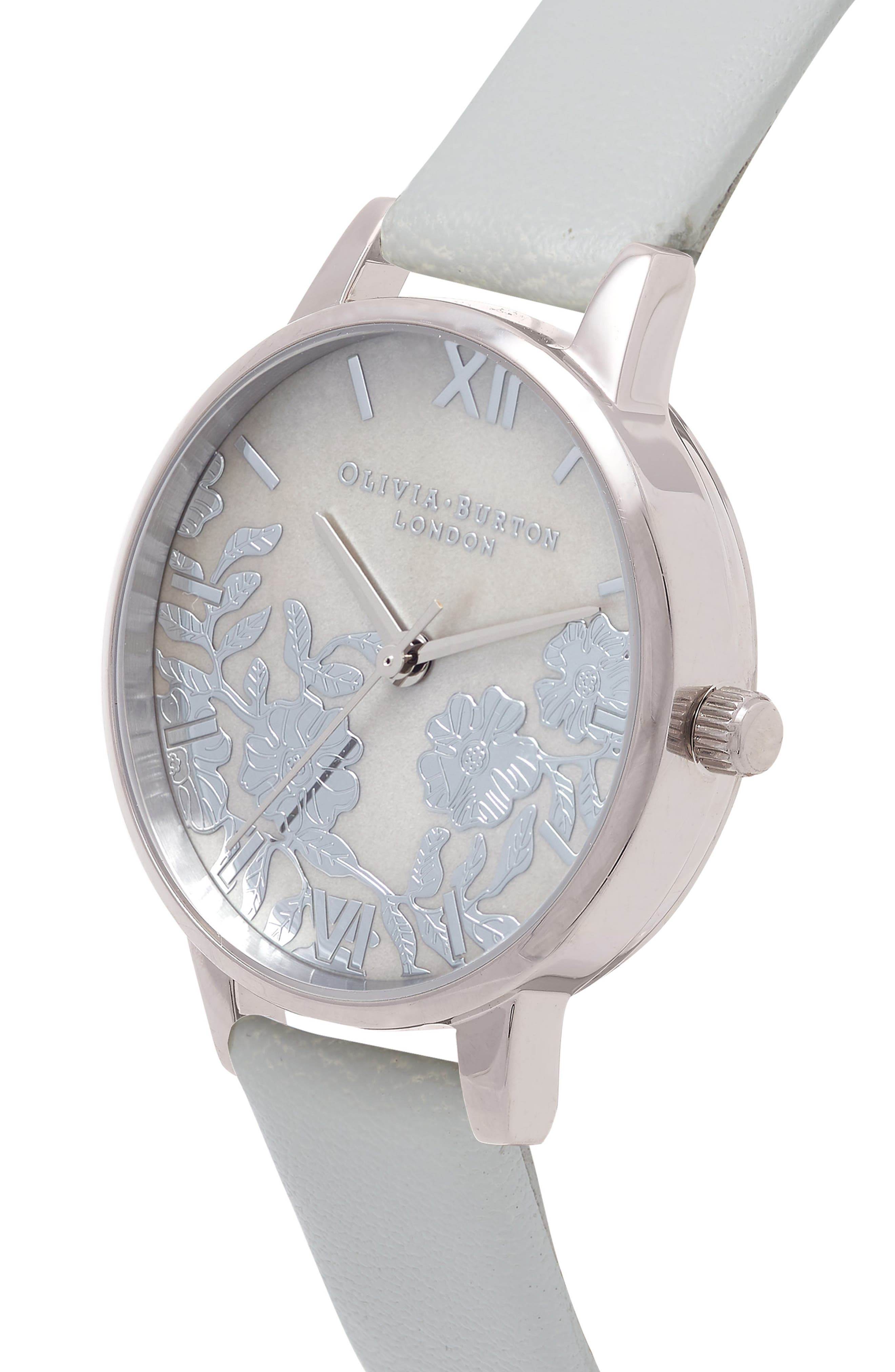 OLIVIA BURTON, Lace Leather Strap Watch, 30mm, Alternate thumbnail 3, color, GREY/ MOP/ SILVER